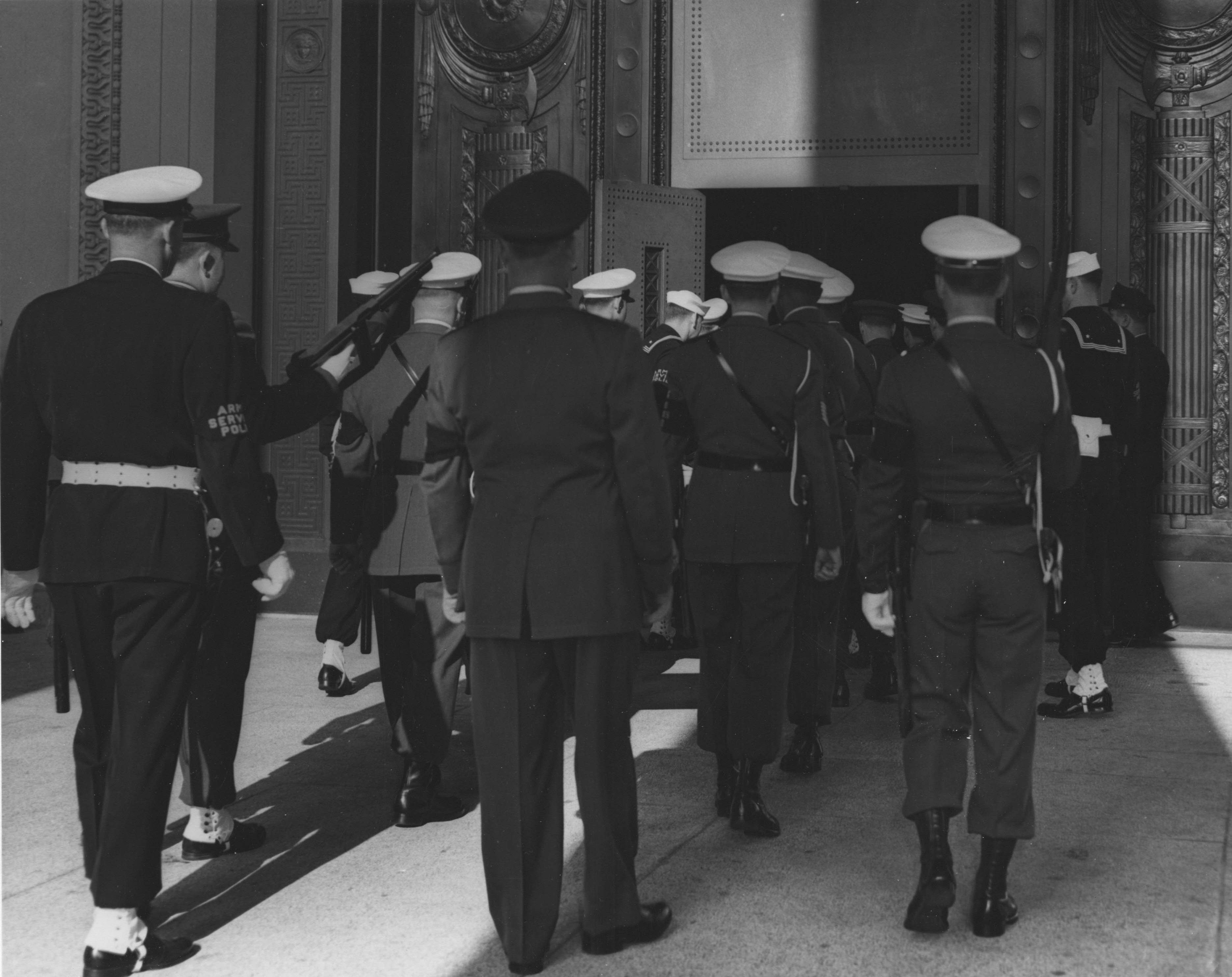 Entering the National Archives Building with the Documents, December 13, 1952. (Records of the National Archives)