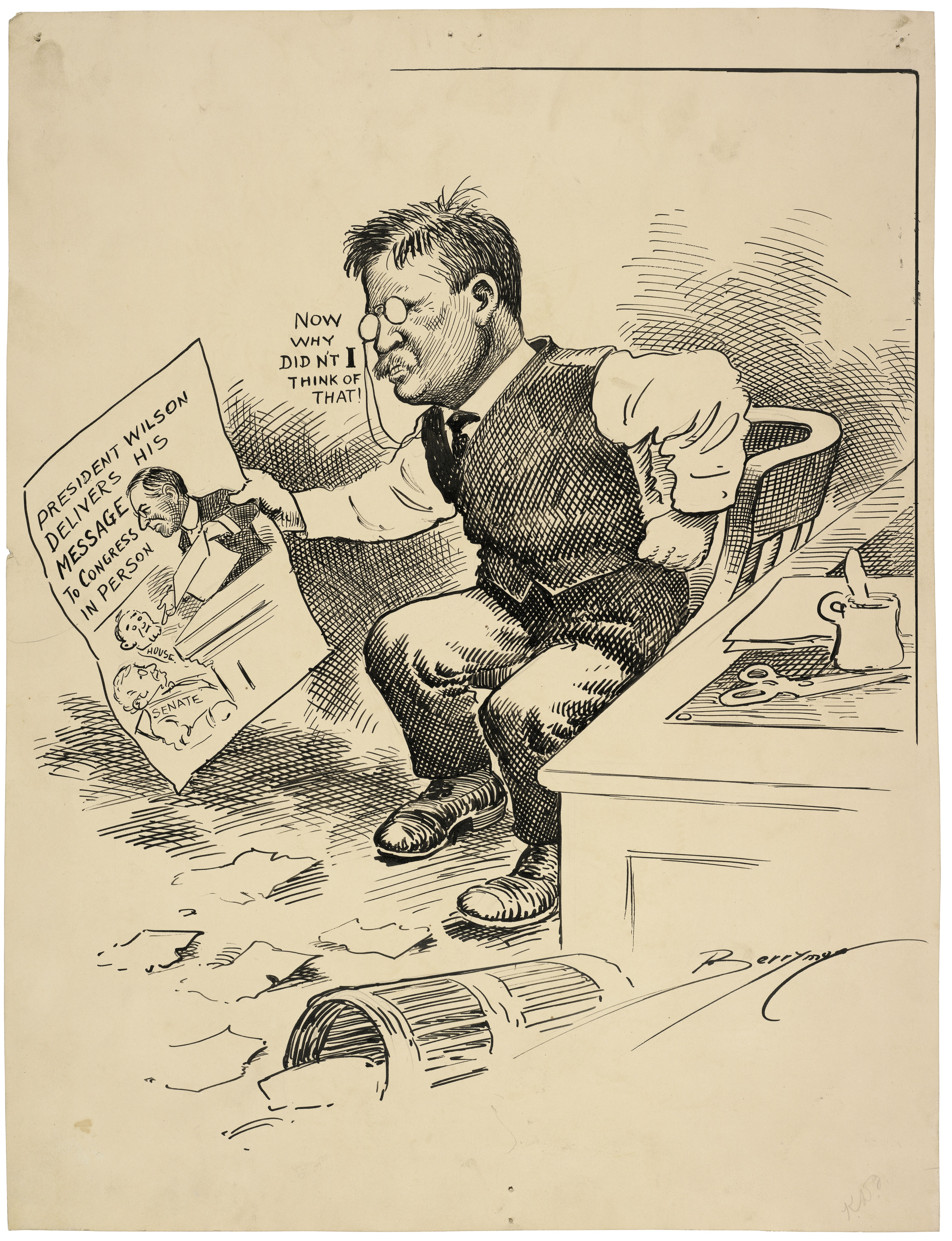 Now Why Didn't I Think of That! by Clifford K. Berryman, 4/8/1913. (National Archives Identifier 6011009)
