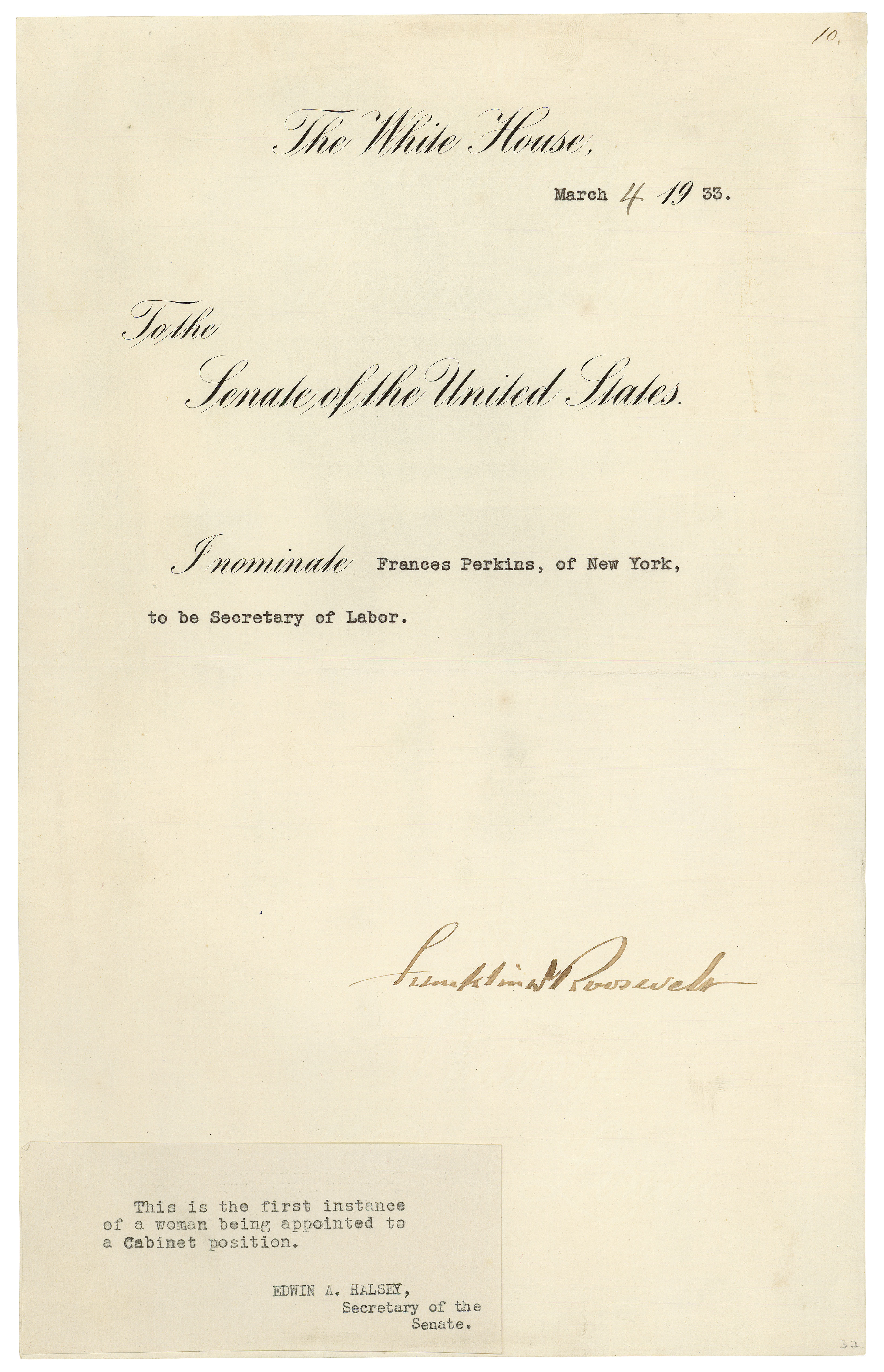 President Franklin Roosevelt's nomination of Frances Perkins to be Secretary of Labor, March 4, 1933. (National Archives Identifier 595434)
