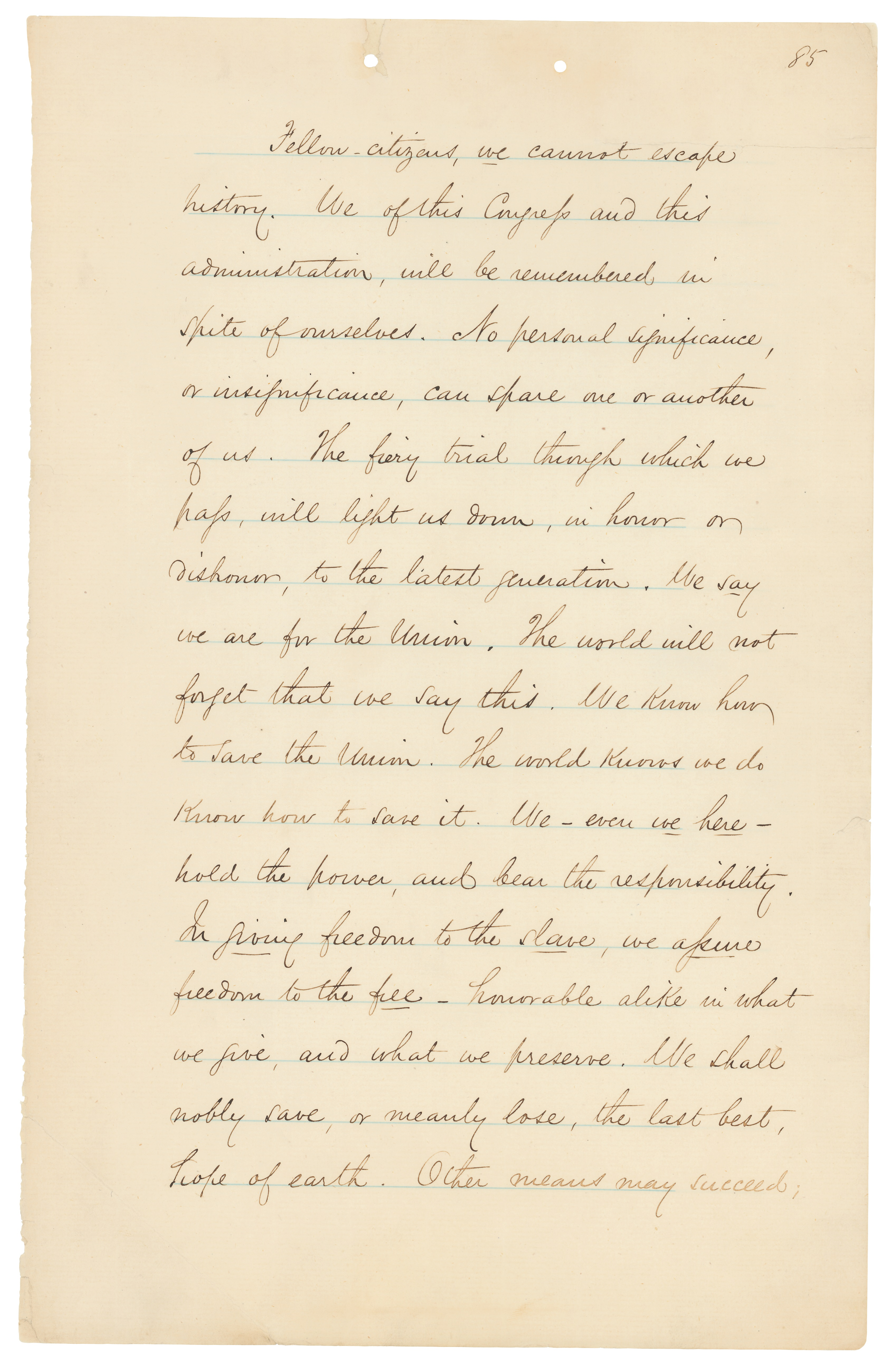 """President Abraham Lincoln's """"Fiery Trial"""" Annual Message to Congress, December 1, 1862. (Records of the U.S. House of Representatives, National Archives)"""