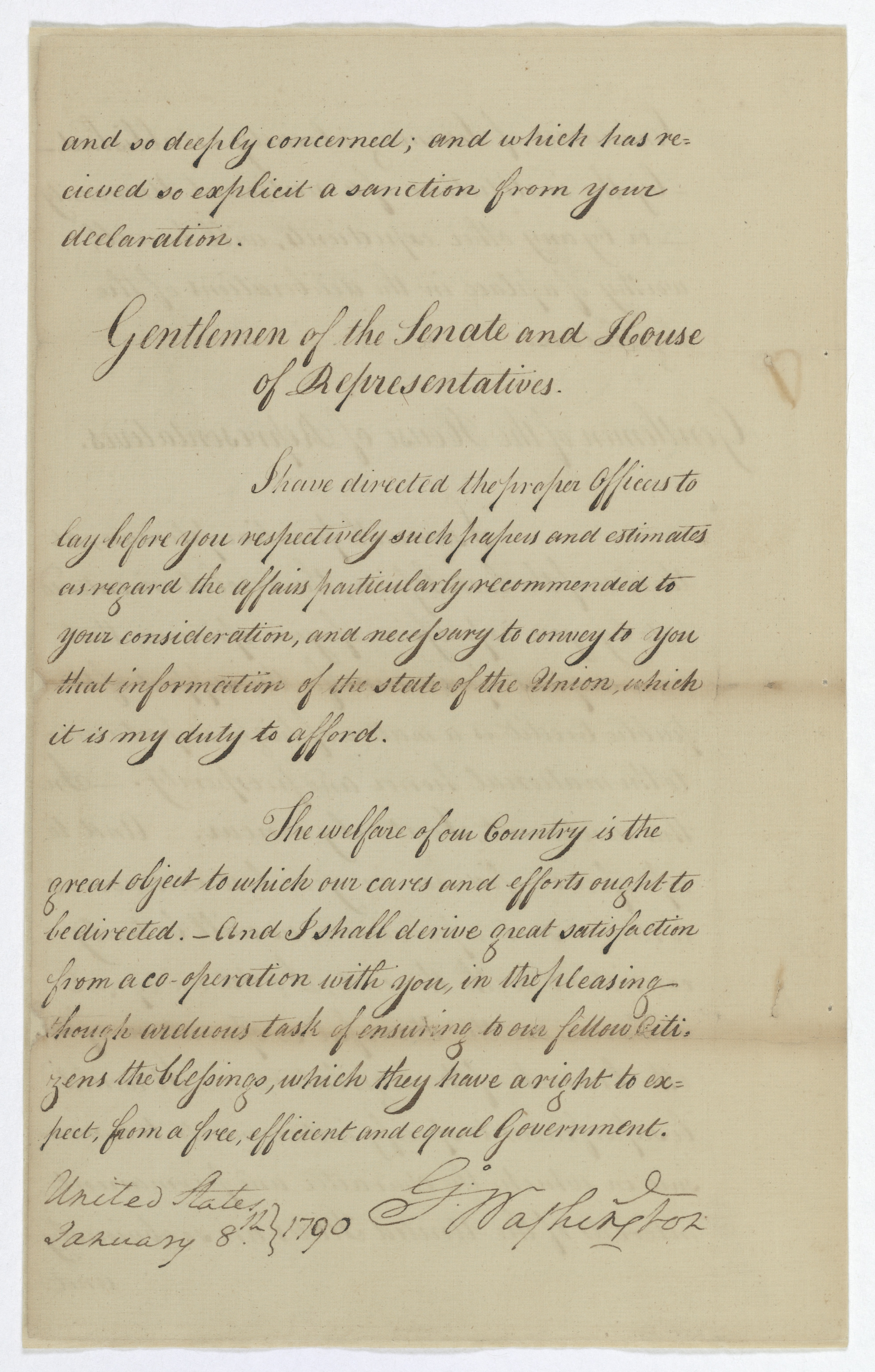 President George Washington's first Annual Message to Congress, January 8, 1790. (Records of the U.S. Senate. National Archives)