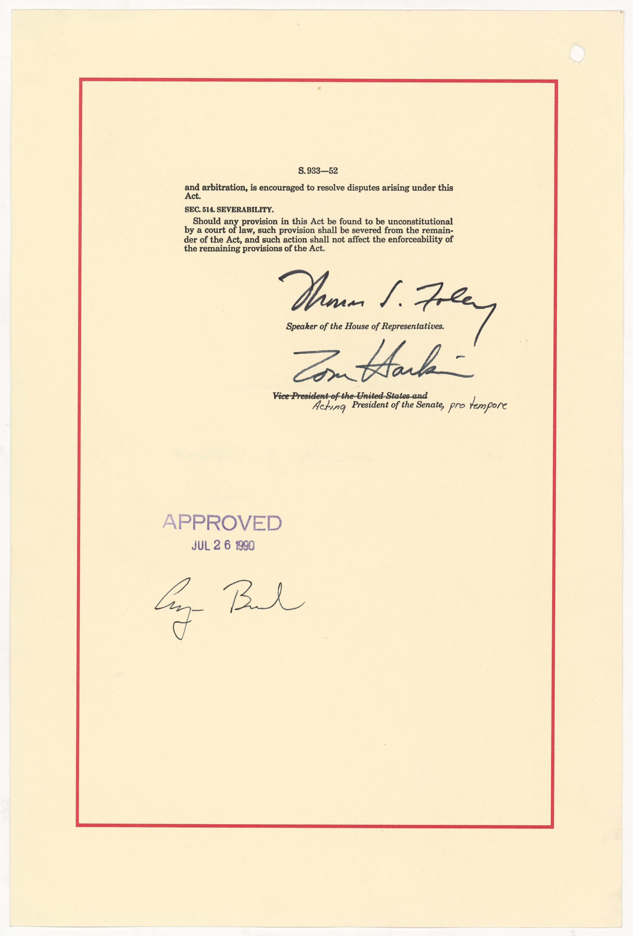 Americans with Disabilities Act, July 26, 1990. (General Records of the U.S. Government, National Archives)