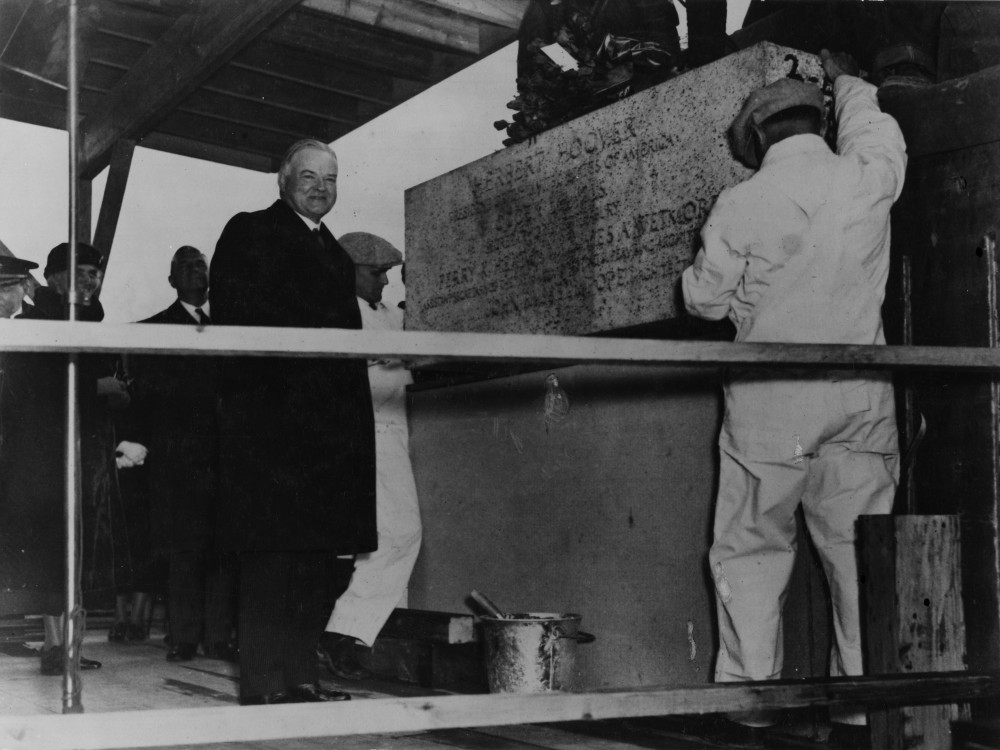 President Herbert Hoover laying the cornerstone of the National Archives Building, February 20, 1933. (Records of the National Archives)