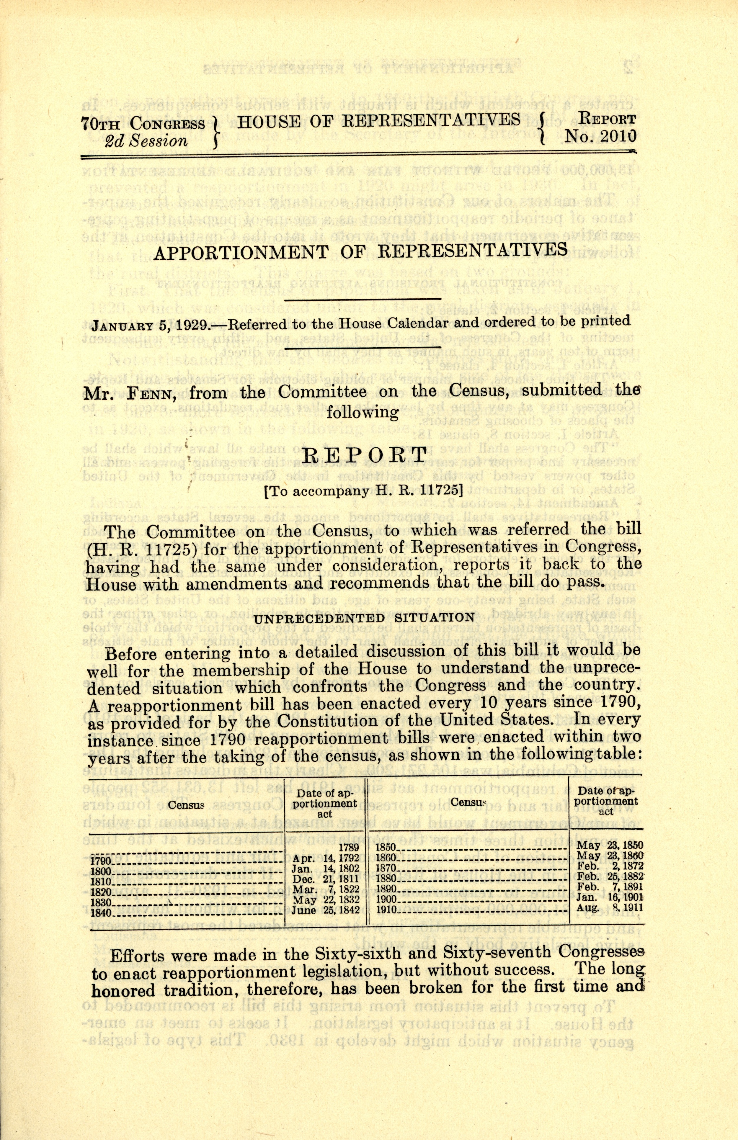 A Report on the Apportionment of Representatives, January 5, 1929, Records of the U.S. House of Representatives, National Archives