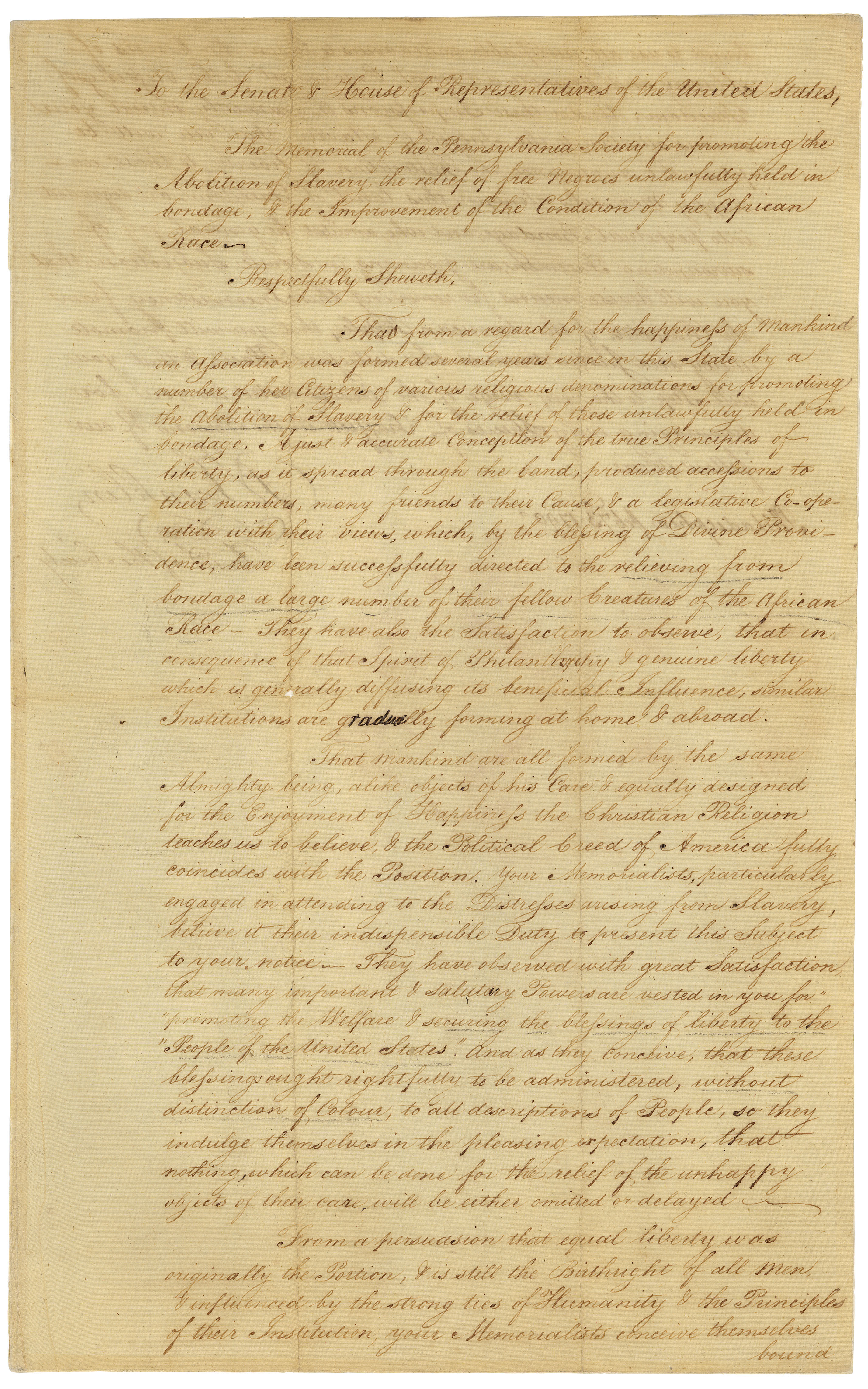 Petition from the Pennsylvania Society for Promoting the Abolition of Slavery to Vice President John Adams, February 3, 1790. (National Archives Identifier 306388)