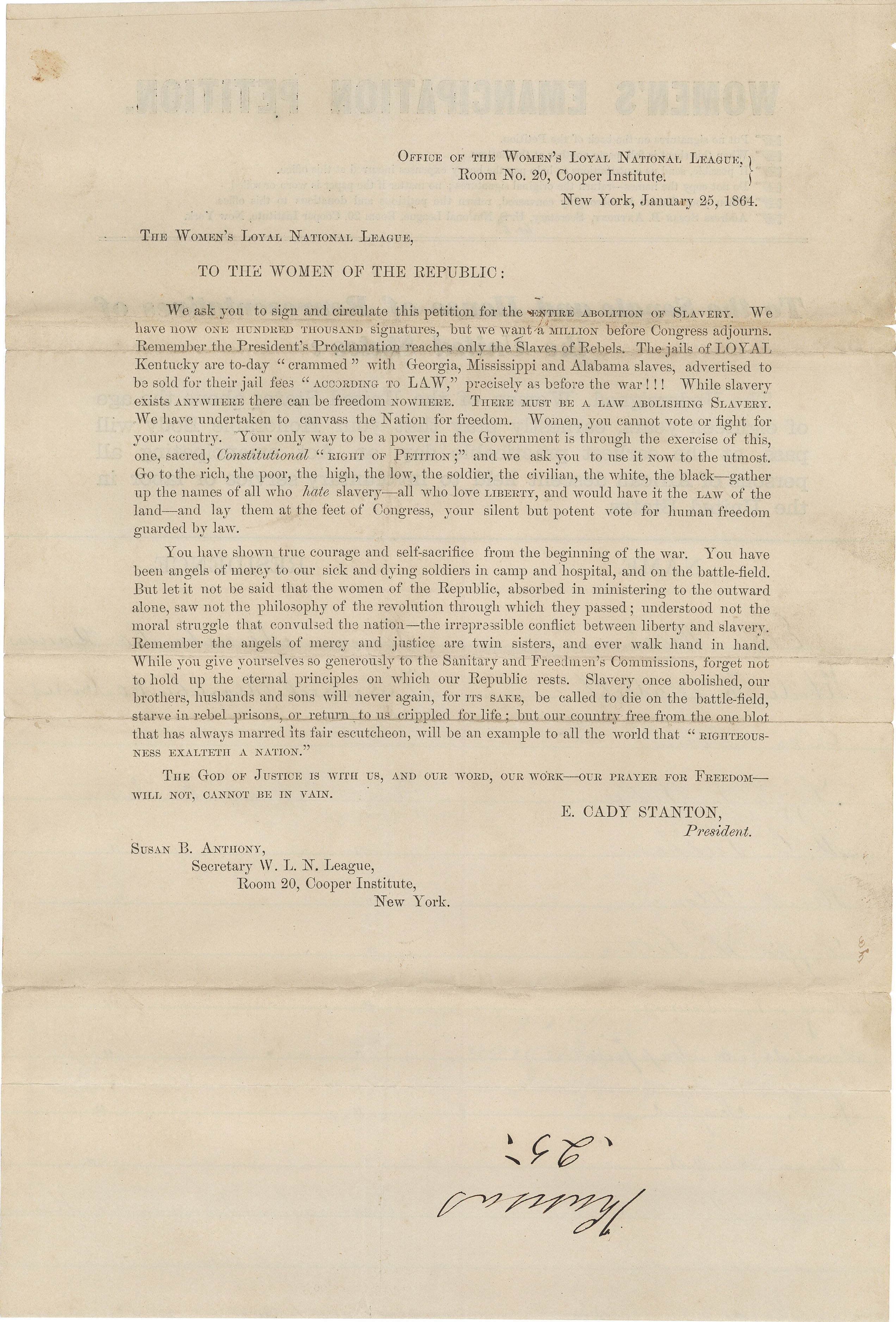 """""""To the Women of the Republic,"""" Address of the Women's Loyal National League Supporting the Abolition of Slavery, January 25, 1864. (National Archives Identifier 306400)"""