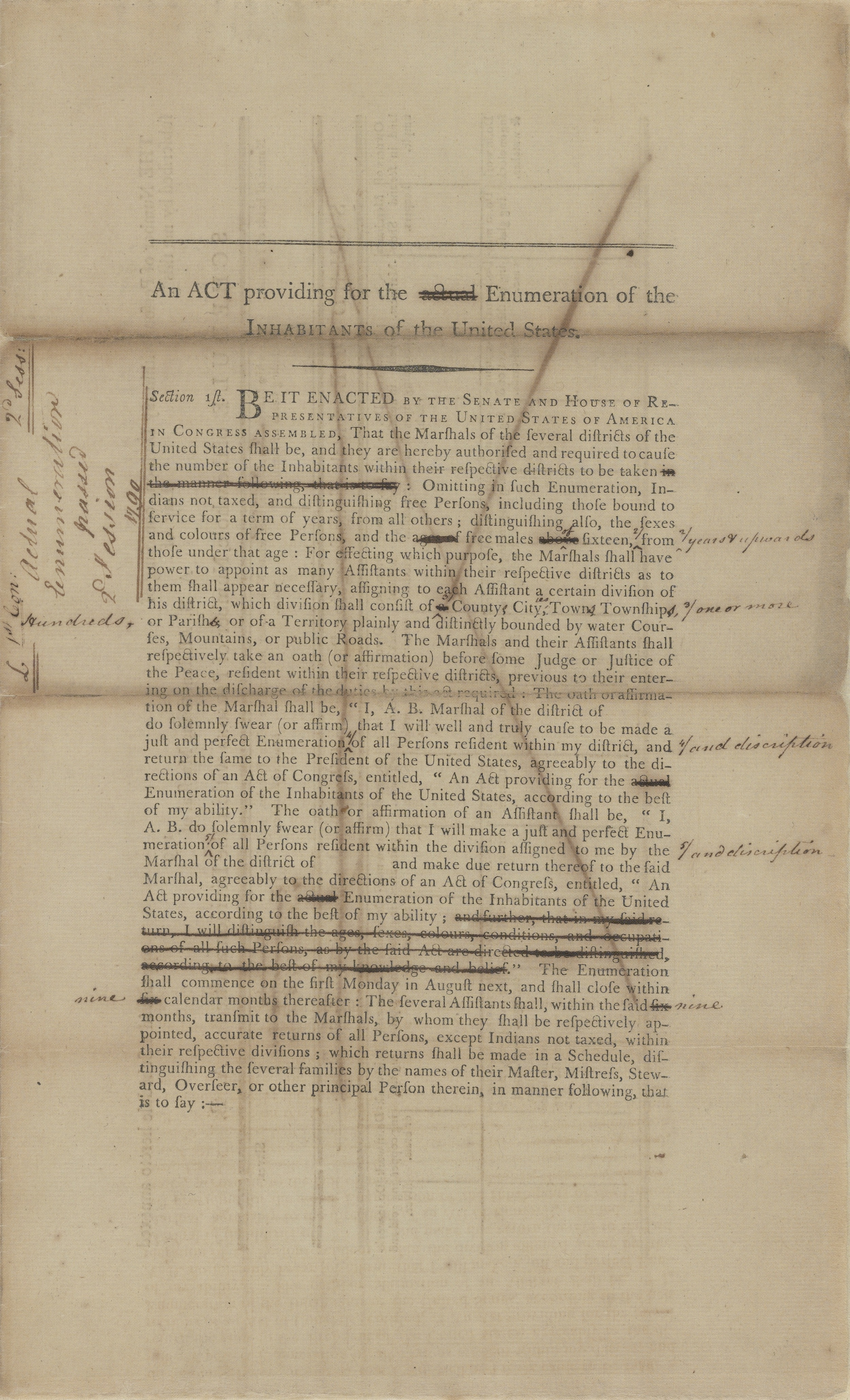 An Act Providing for the Enumeration of the Inhabitants of the United States, March 2, 1790, Records of the U.S. Senate, National Archives