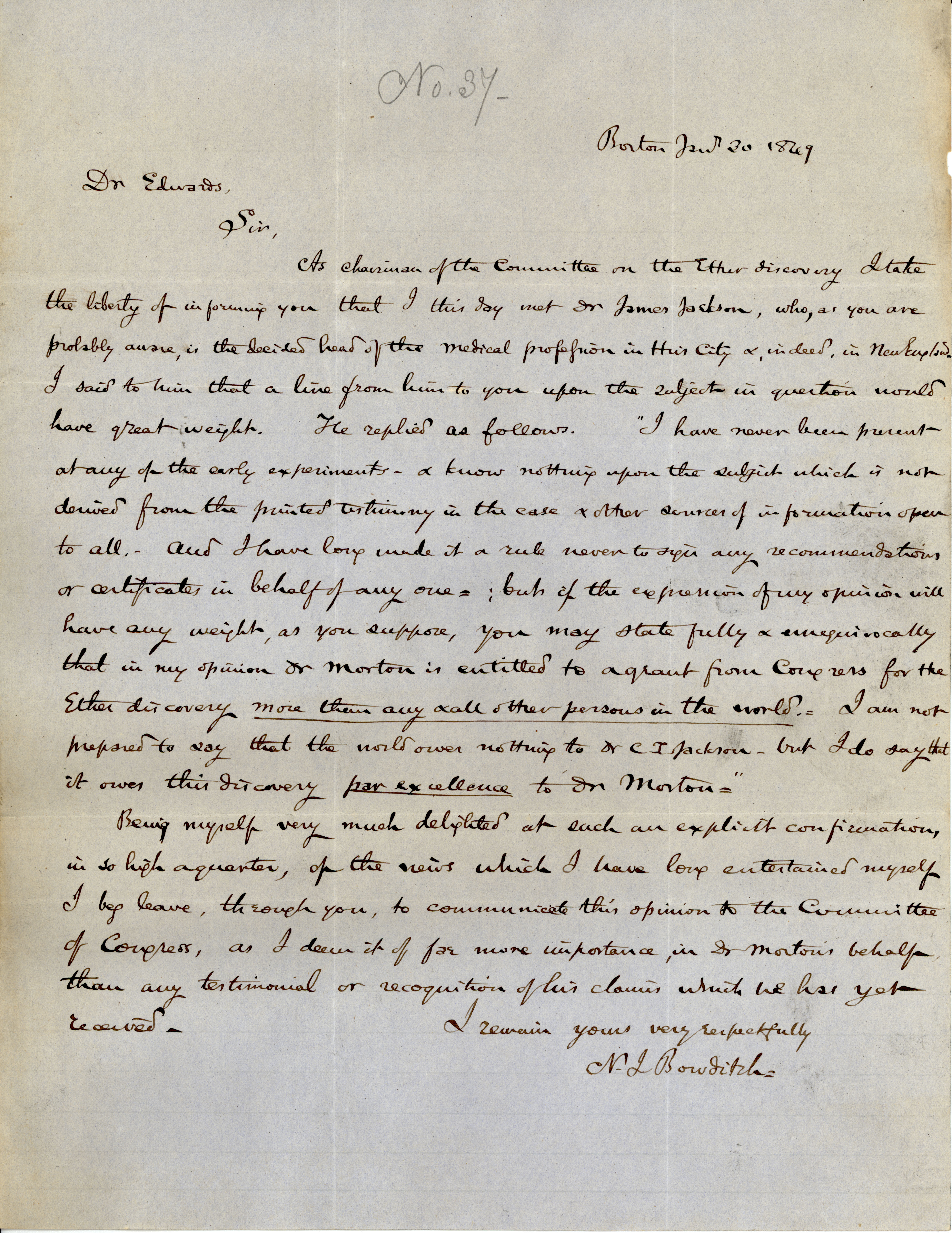 """Testimony arguing that Dr. Morton deserves credit for the ether discovery, """"more than any and all other persons in the world."""" Report 114, House Committee on Ether Discovery, July 30, 1849. (Records of the U.S. House, National Archives)"""