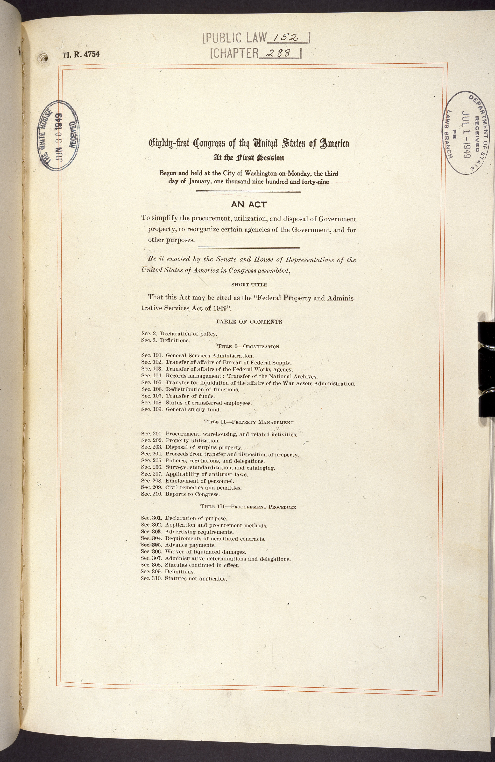 Federal Property and Administrative Services Act,  June 30, 1949. (General Records of the U.S. Government, National Archives)