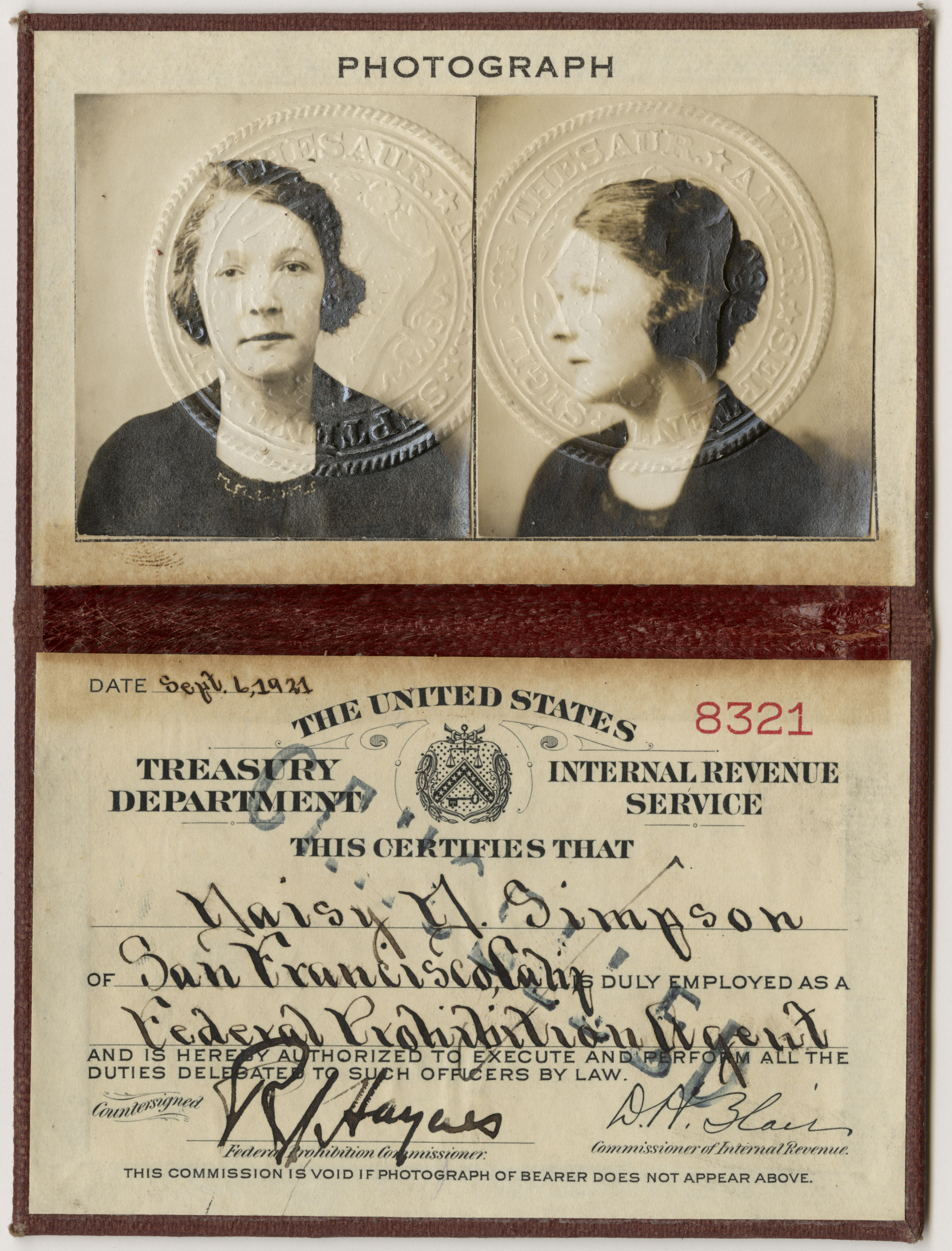 Daisy Simpson's Prohibition Unit ID, September 6, 1921. (National Archives Identifier 6238194)