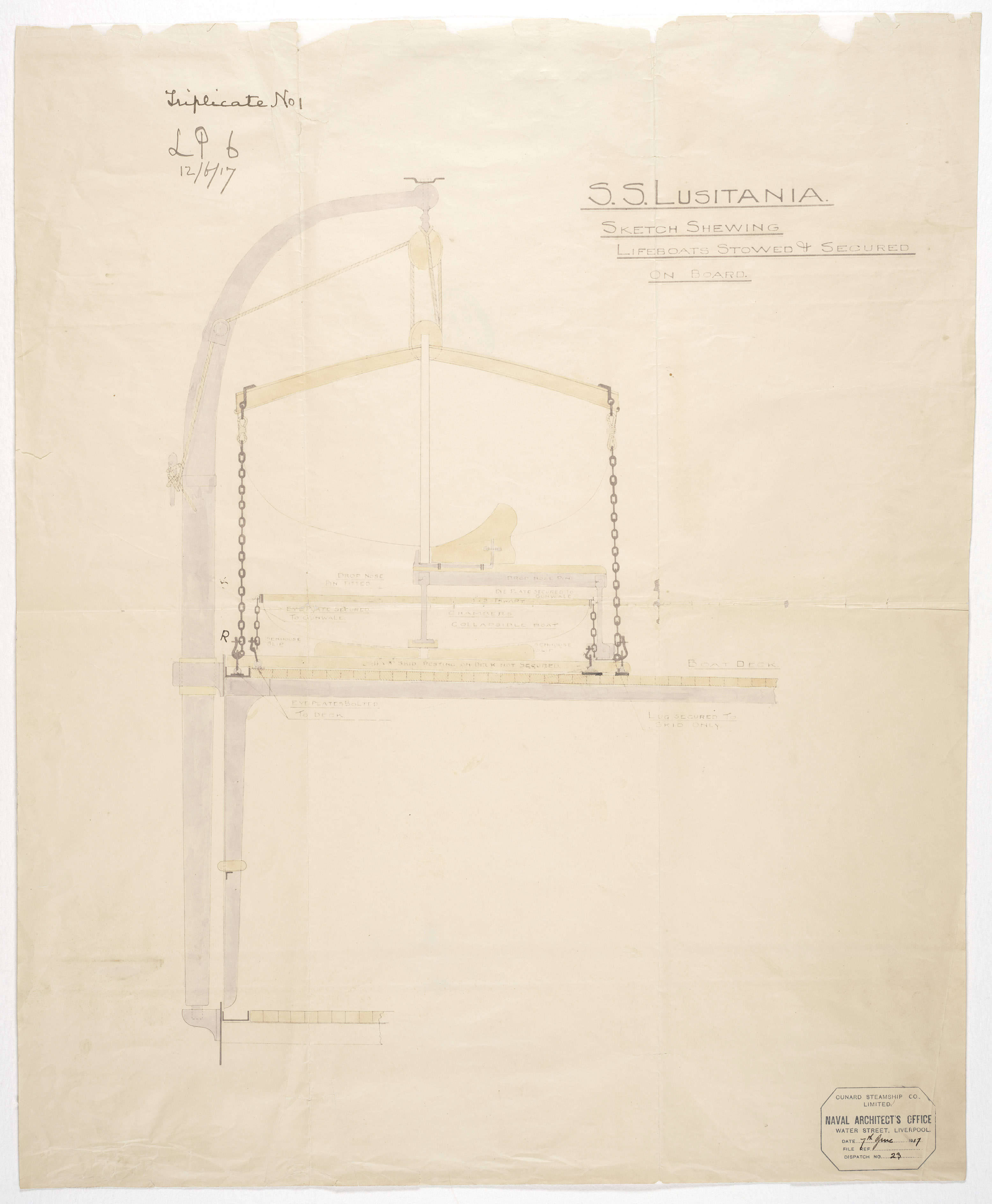Sketch Showing Lifeboats Stowed and Secured on Board the RMS. Lusitania, 12/6/1917. National Archives Identifier 17369675