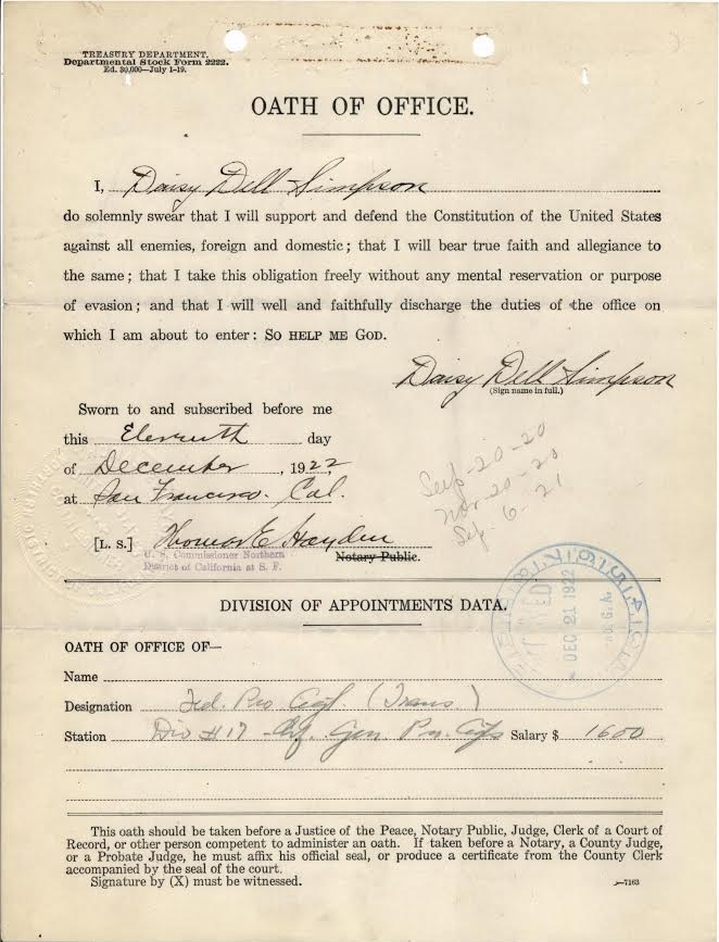 Daisy Simpson Oath of Office, December 11, 1922 . (National Archives at St. Louis)