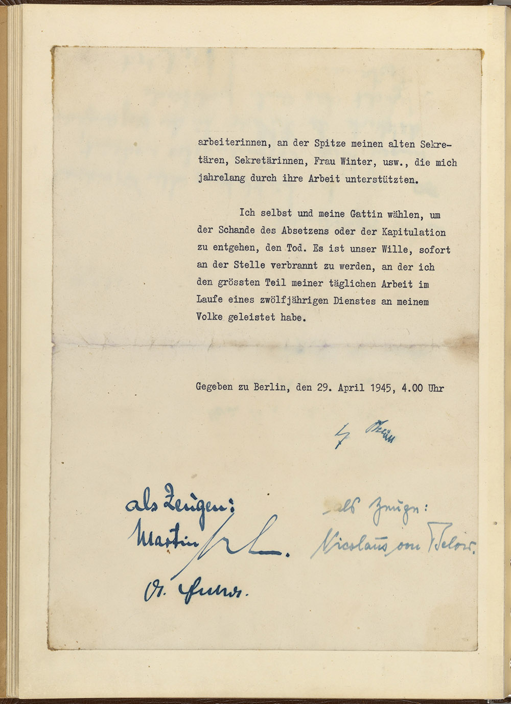 Signature page of Hitler's will. (National Archives Identifier 6883511)