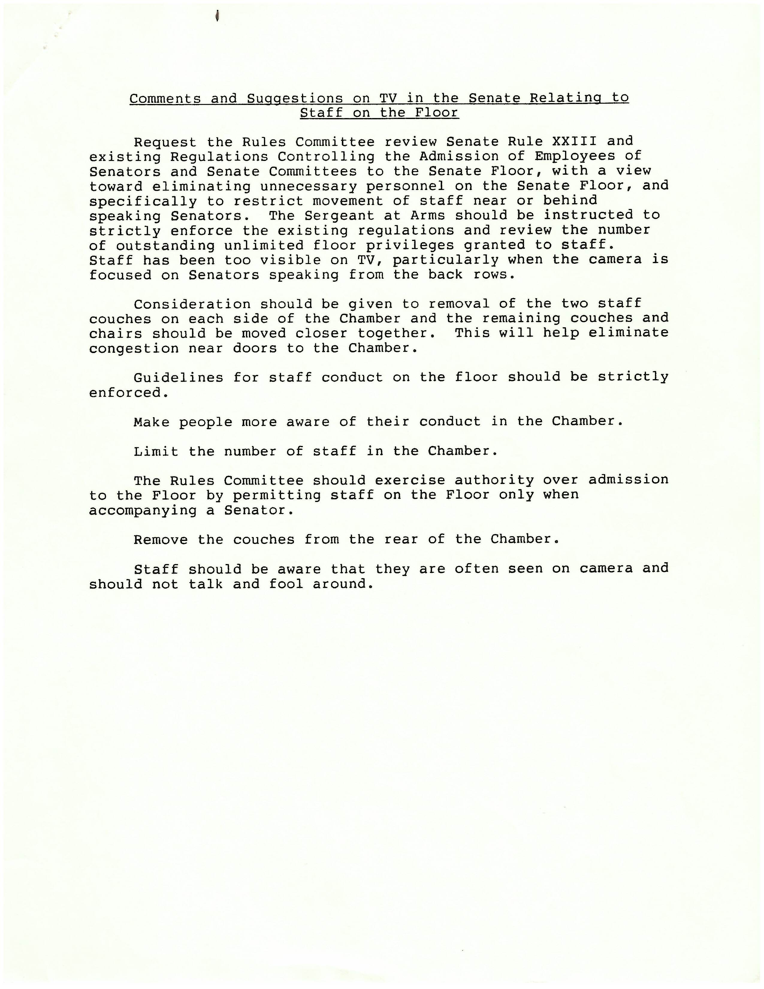 Letter to the Honorable Ernest E. Garcia, Sergeant at Arms, from Charles McC. Mathias, Jr., Chairman of the Rules Committee, July 18, 1986, page 2. (Records of the U.S. Senate, National Archives)