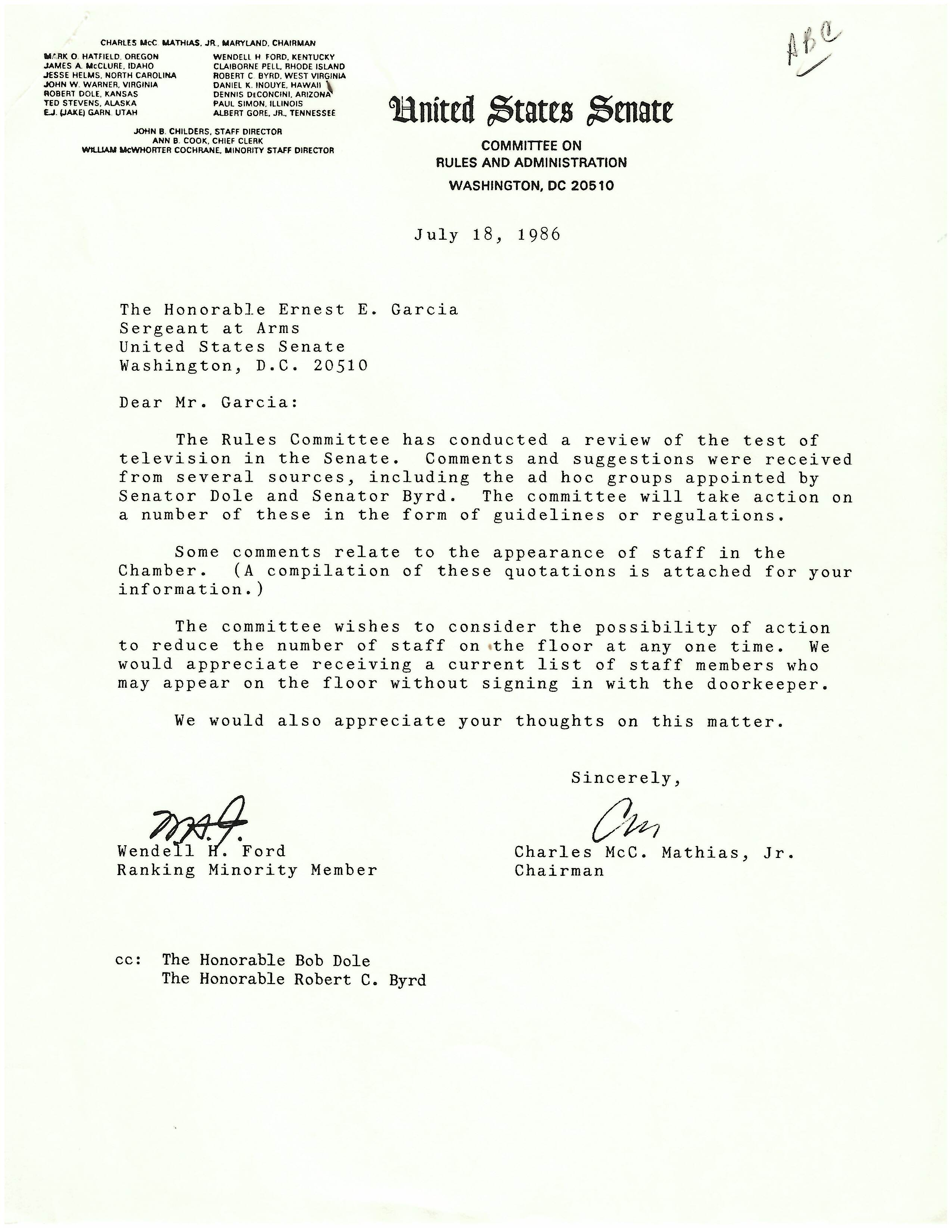Letter to the Honorable Ernest E. Garcia, Sergeant at Arms, from Charles McC. Mathias, Jr., Chairman of the Rules Committee, July 18, 1986, page 1. (Records of the U.S. Senate, National Archives)
