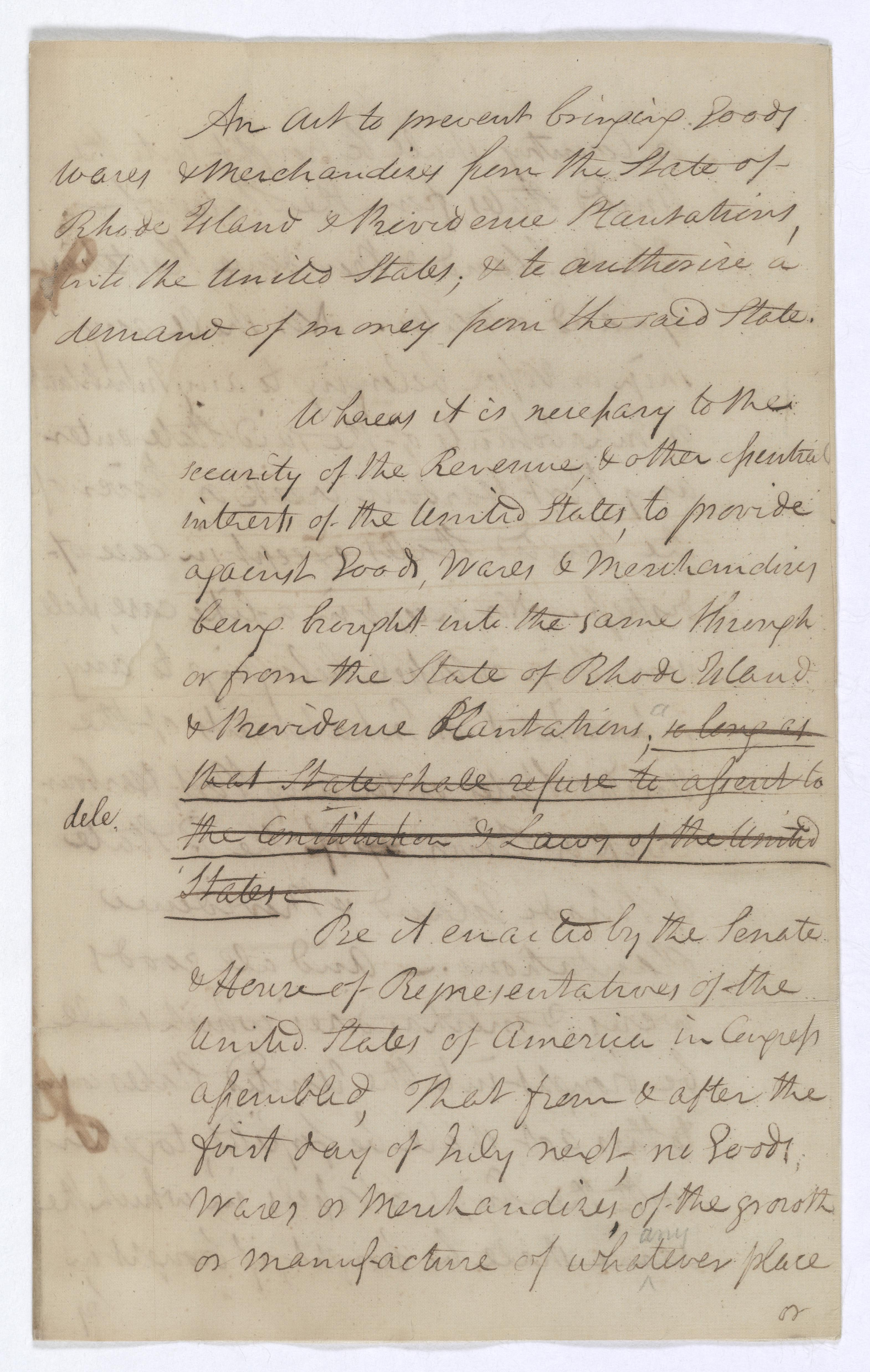 An Act to Restrict Trade with Rhode Island, May, 18 1790 (Records of the U.S. Senate, National Archives)