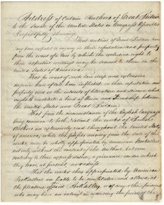 Letter from British authors to the Senate regarding copyright laws, and protection for international works, page 1, February 2, 1837. (Records of the U.S. Senate, National Archives)