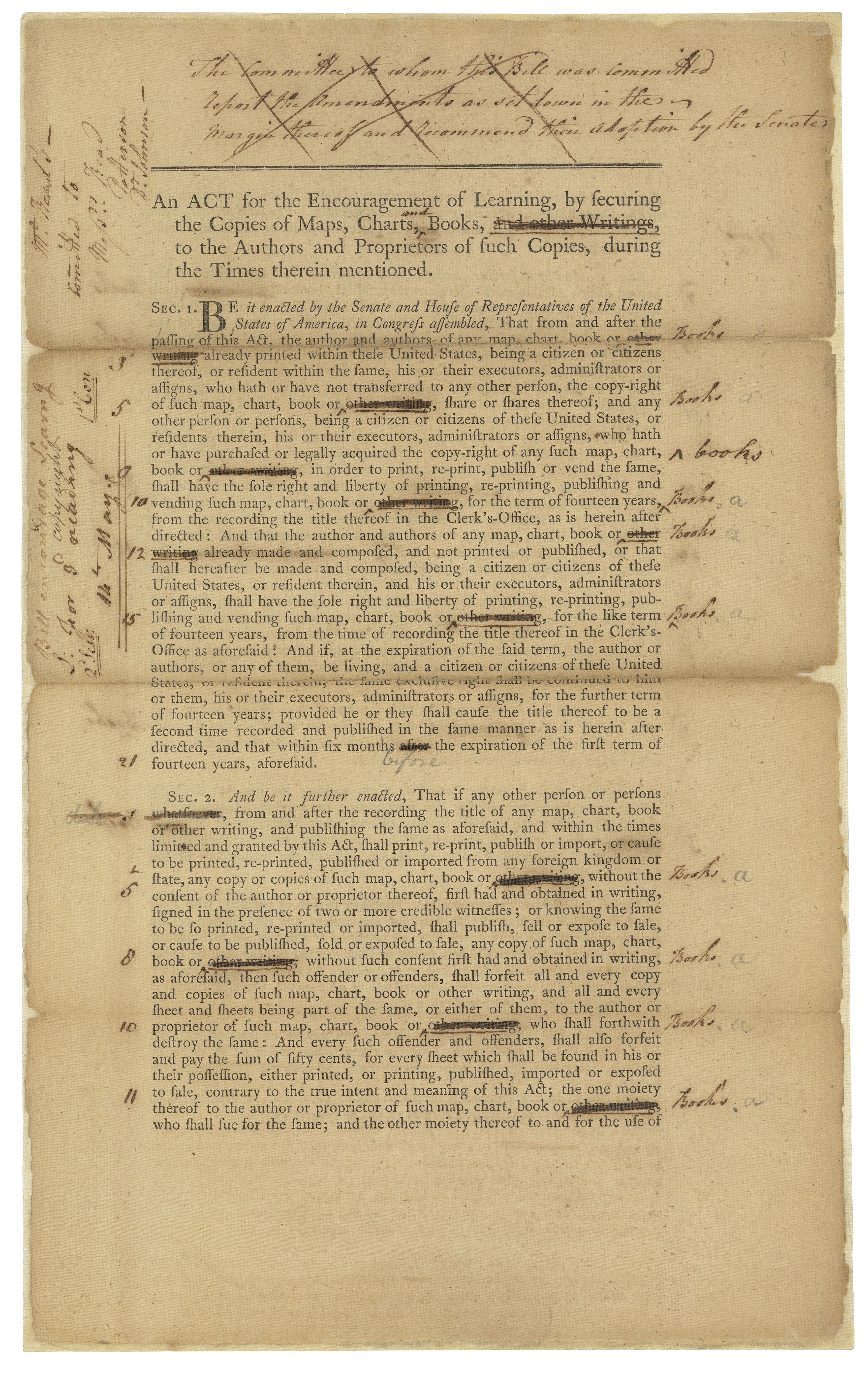 Copyright Act of 1790, bill version. (Records of the U.S. Senate, National Archives)