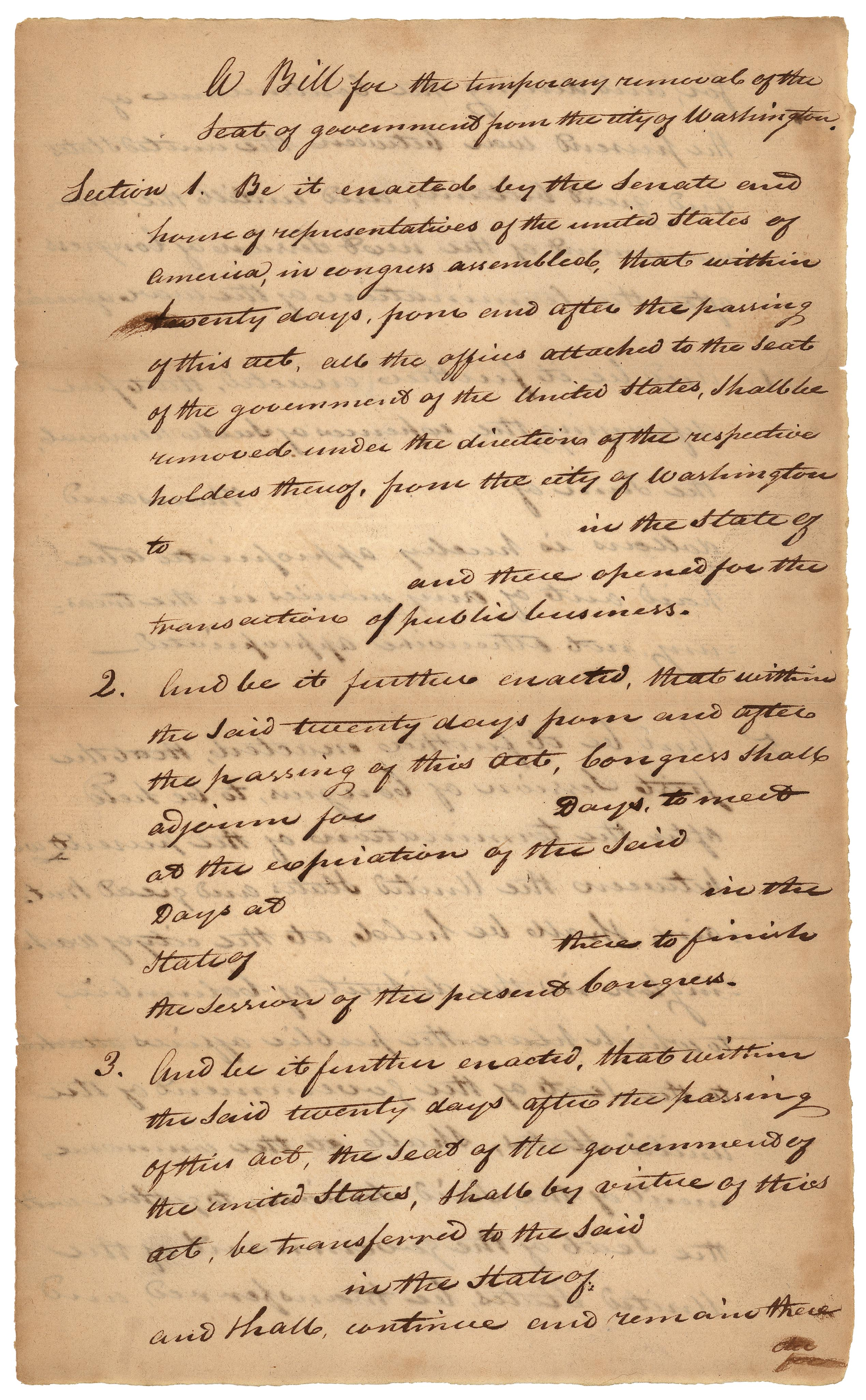 Bill for Temporary Removal, October 3, 1814. (Records of the U.S. House of Representatives, National Archives)