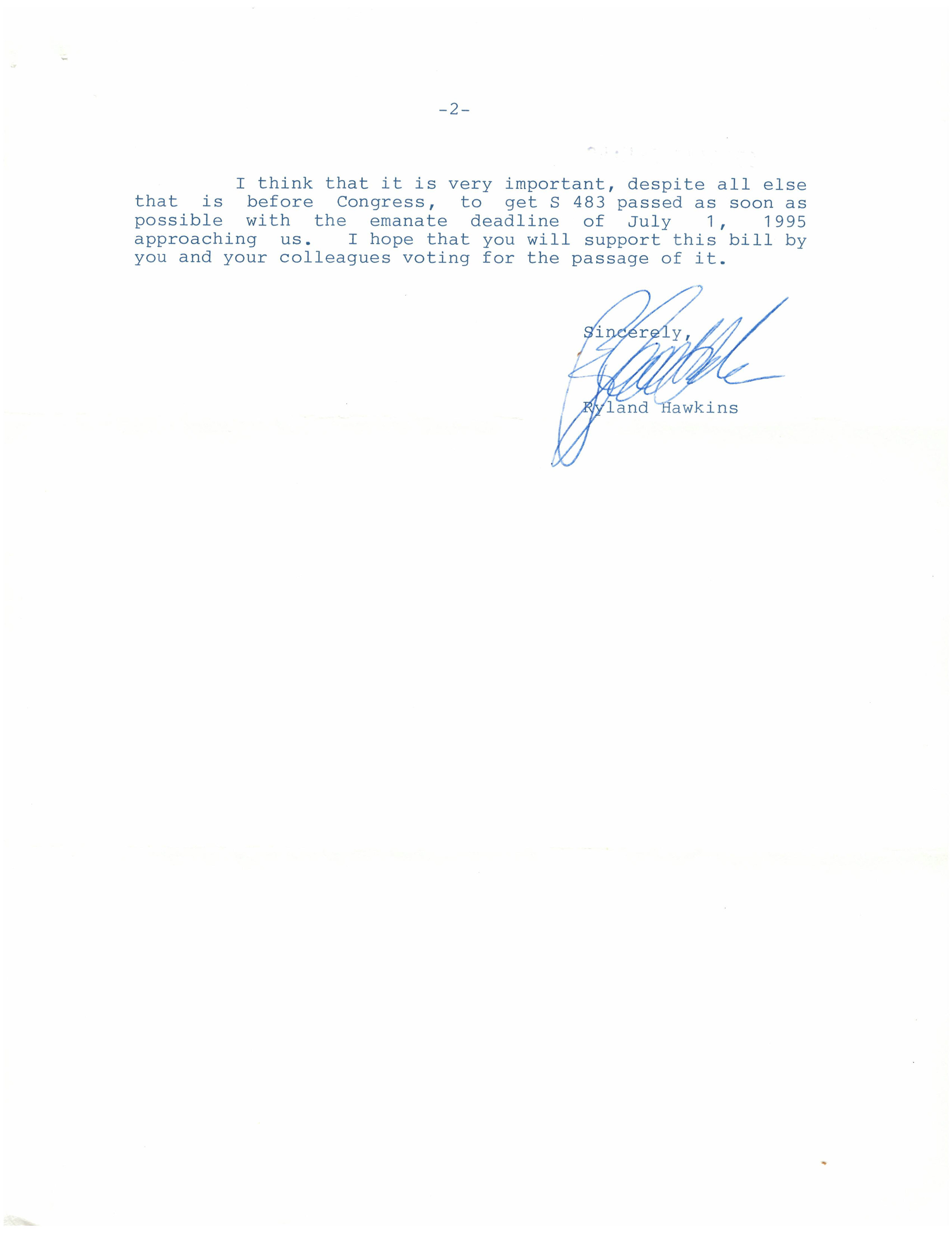 Letter from the estate of L Ron Hubbard to Senator Orrin G. Hatch regarding the Copyright Term Extension Act, May 11, 1995, page 2. (Records of the U.S. Senate, National Archives)