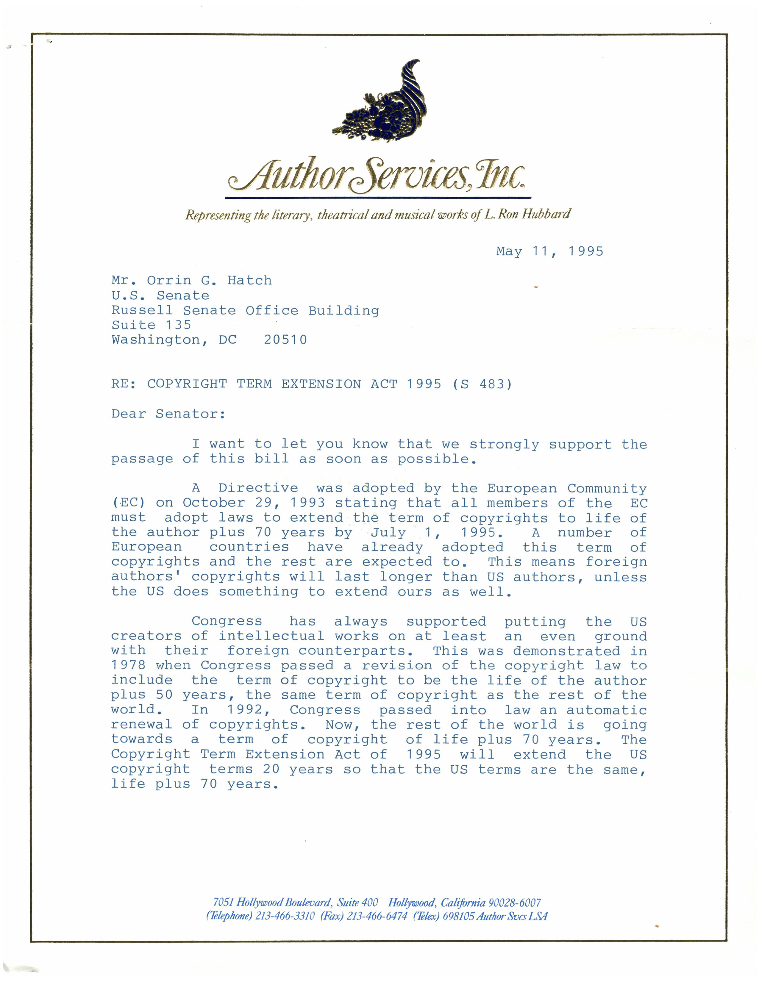 Letter from the estate of L Ron Hubbard to Senator Orrin G. Hatch regarding the Copyright Term Extension Act, May 11, 1995, page 1. (Records of the U.S. Senate, National Archives)