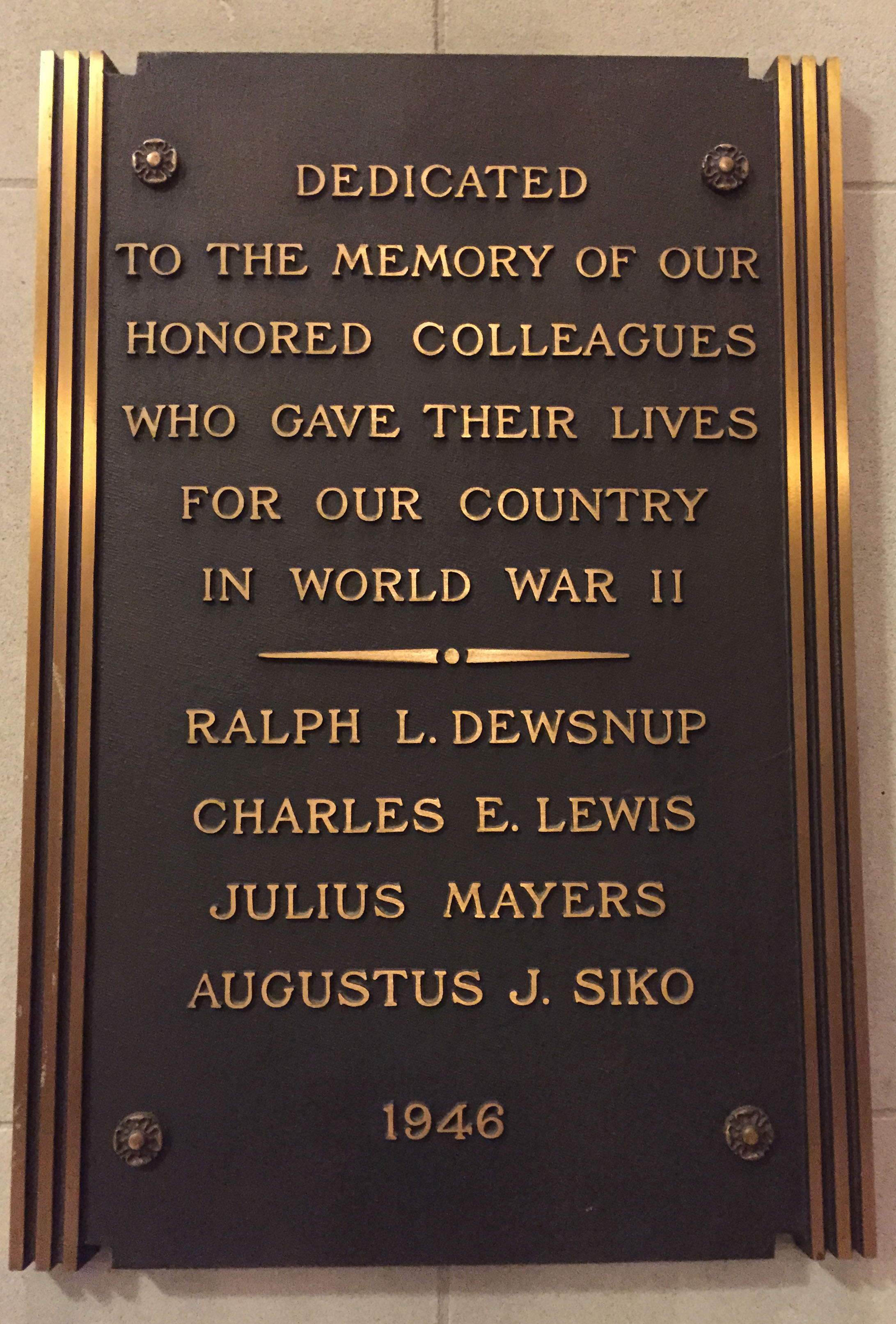 National Archives Memorial Plaque (Photo courtesy of the National Archives History Office)