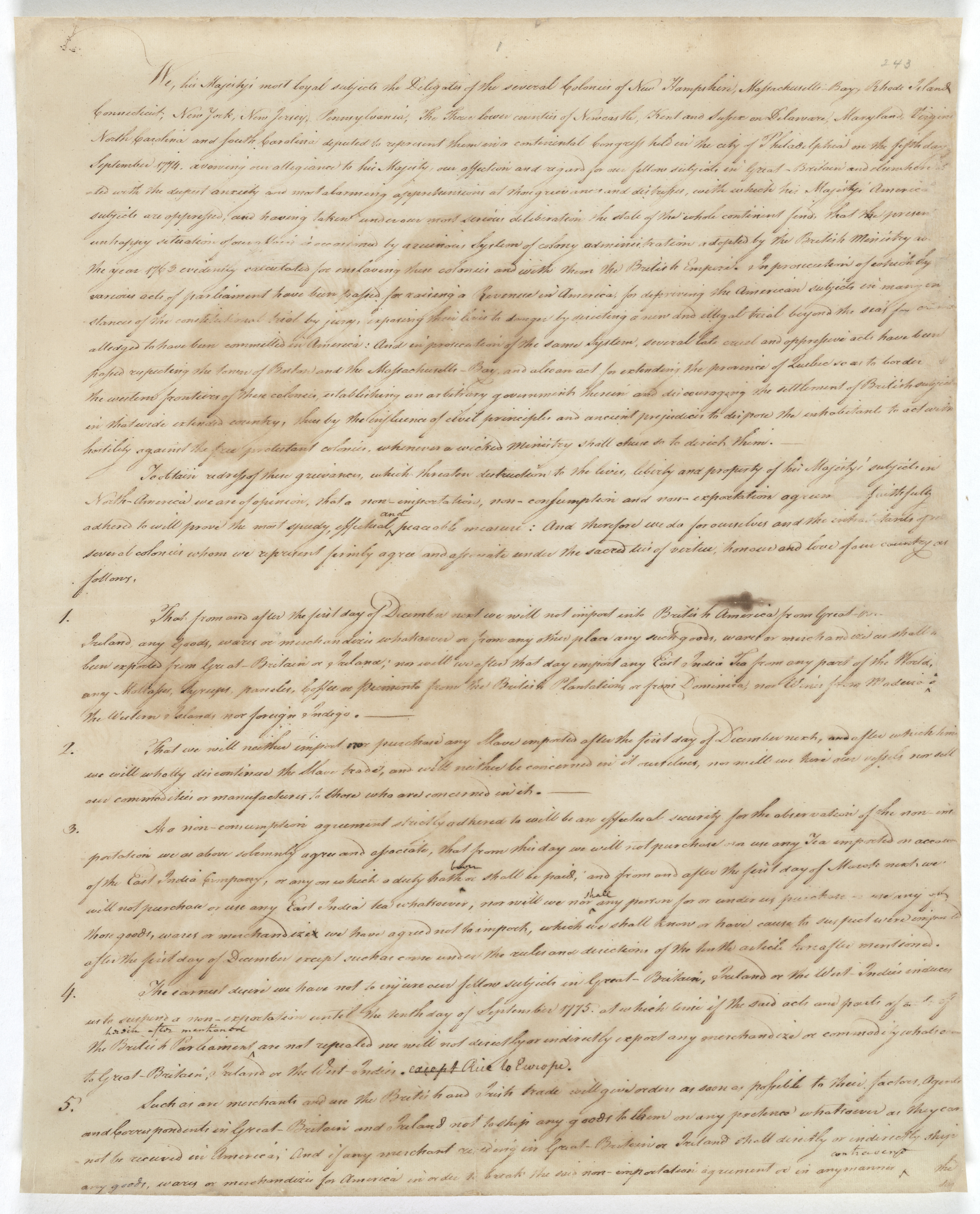 Articles of Association,  page 1, 10/20/1774.  National Archives Identifier 6277397)