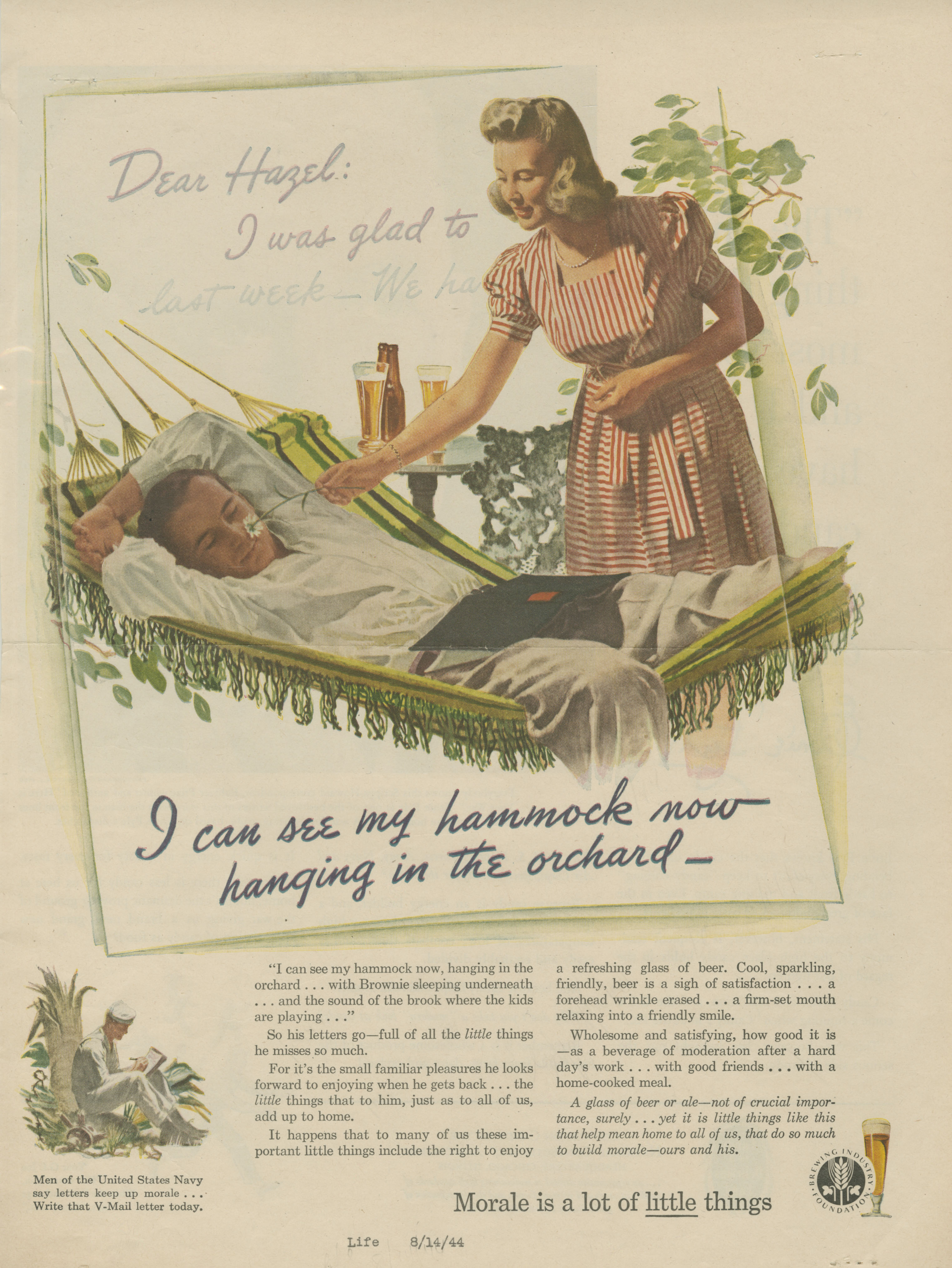 """""""Morale is a lot of Little Things,"""" 1944. Courtesy of the J. Walter Thompson Archives at the Duke University Library."""