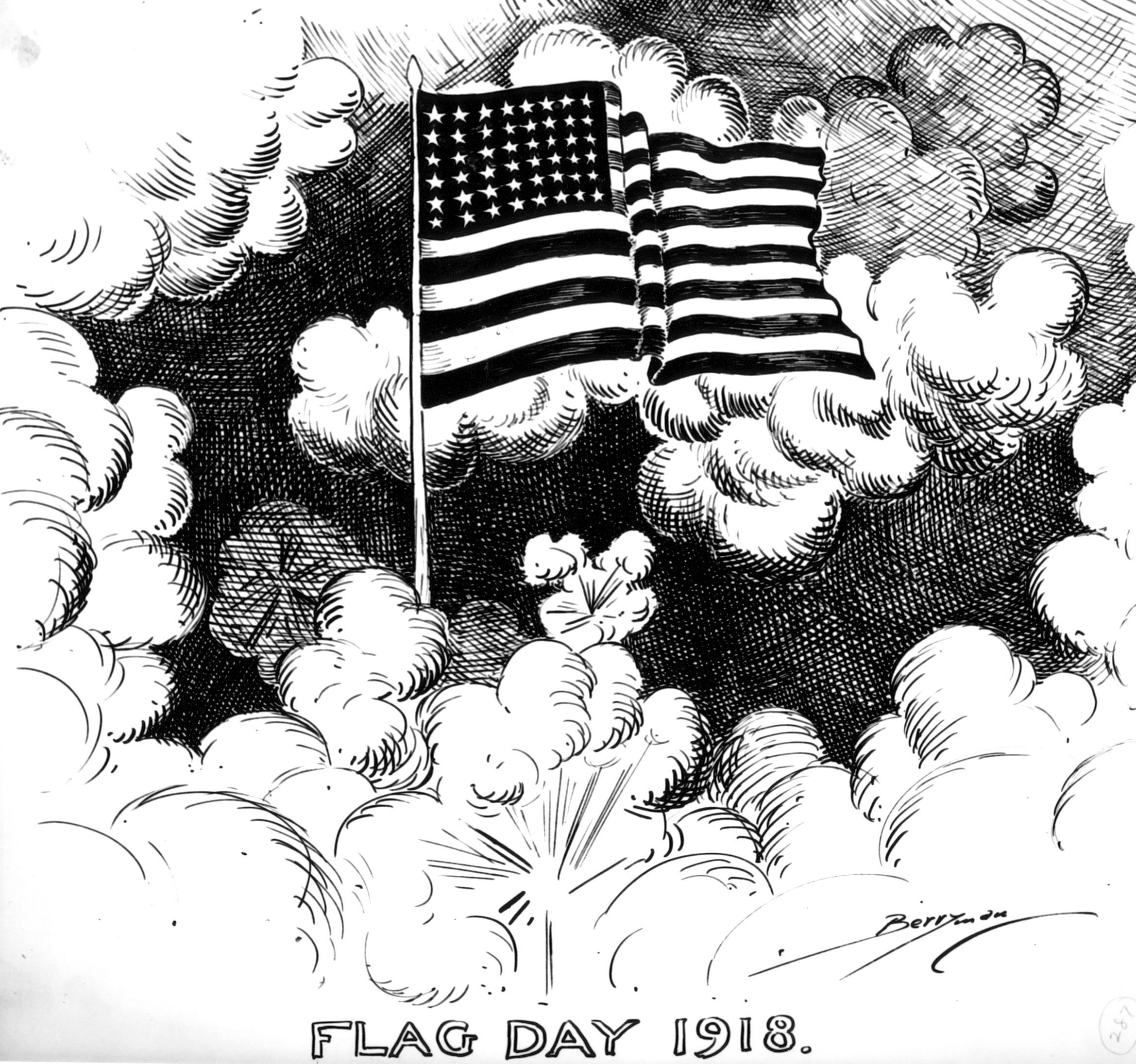 Cartoonist Clifford Berryman highlights the annual Flag Day with an American flag waving among the light and dark clouds caused by the gunfire of battles. (National Archives Identifier 6011429)