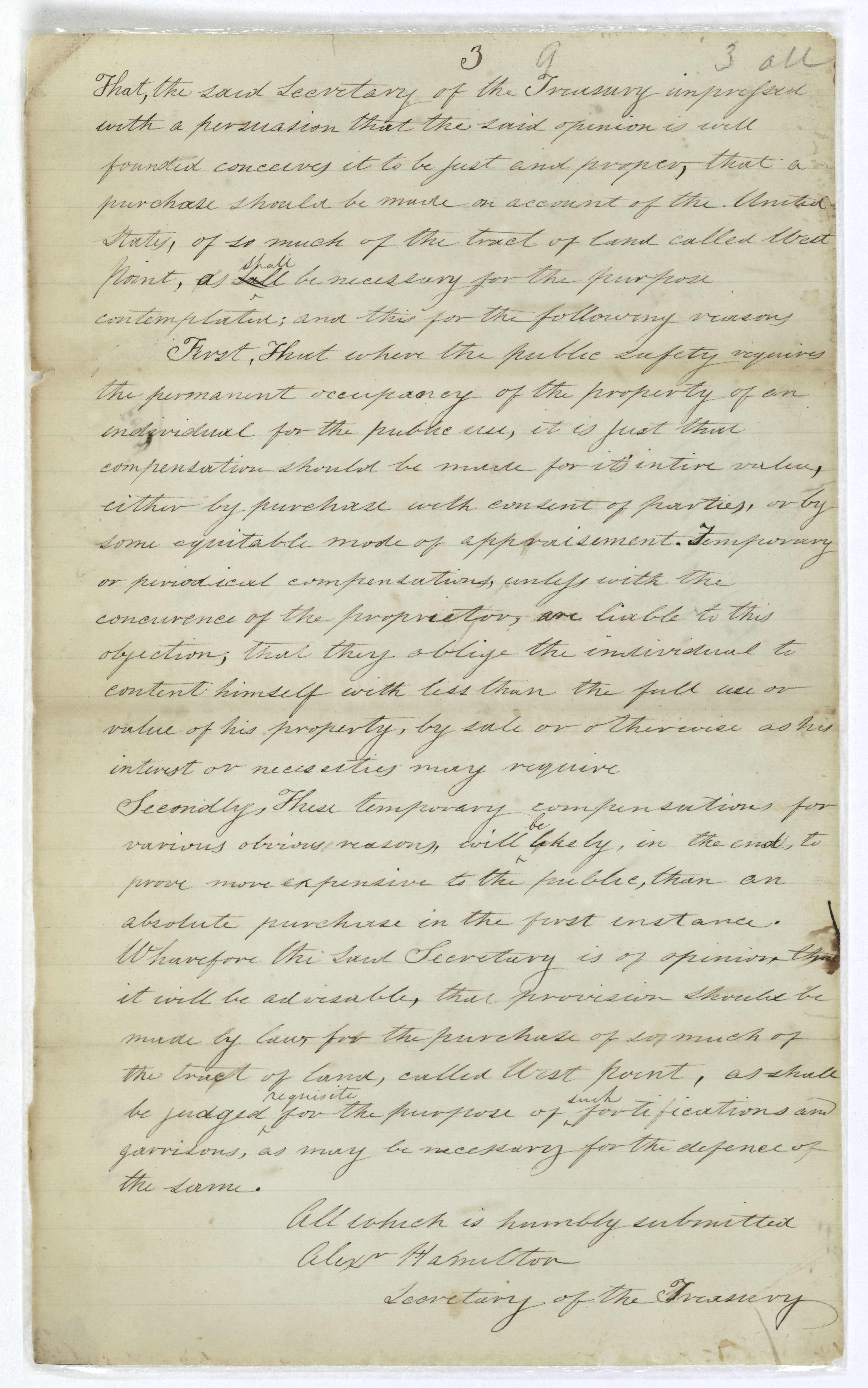 Page three of the Report of the Secretary of the Treasury on the petition of Stephen Moore advocating the retention by the U.S. of West Point as a military post, June 10, 1790; Records of the U.S. House of Representatives.