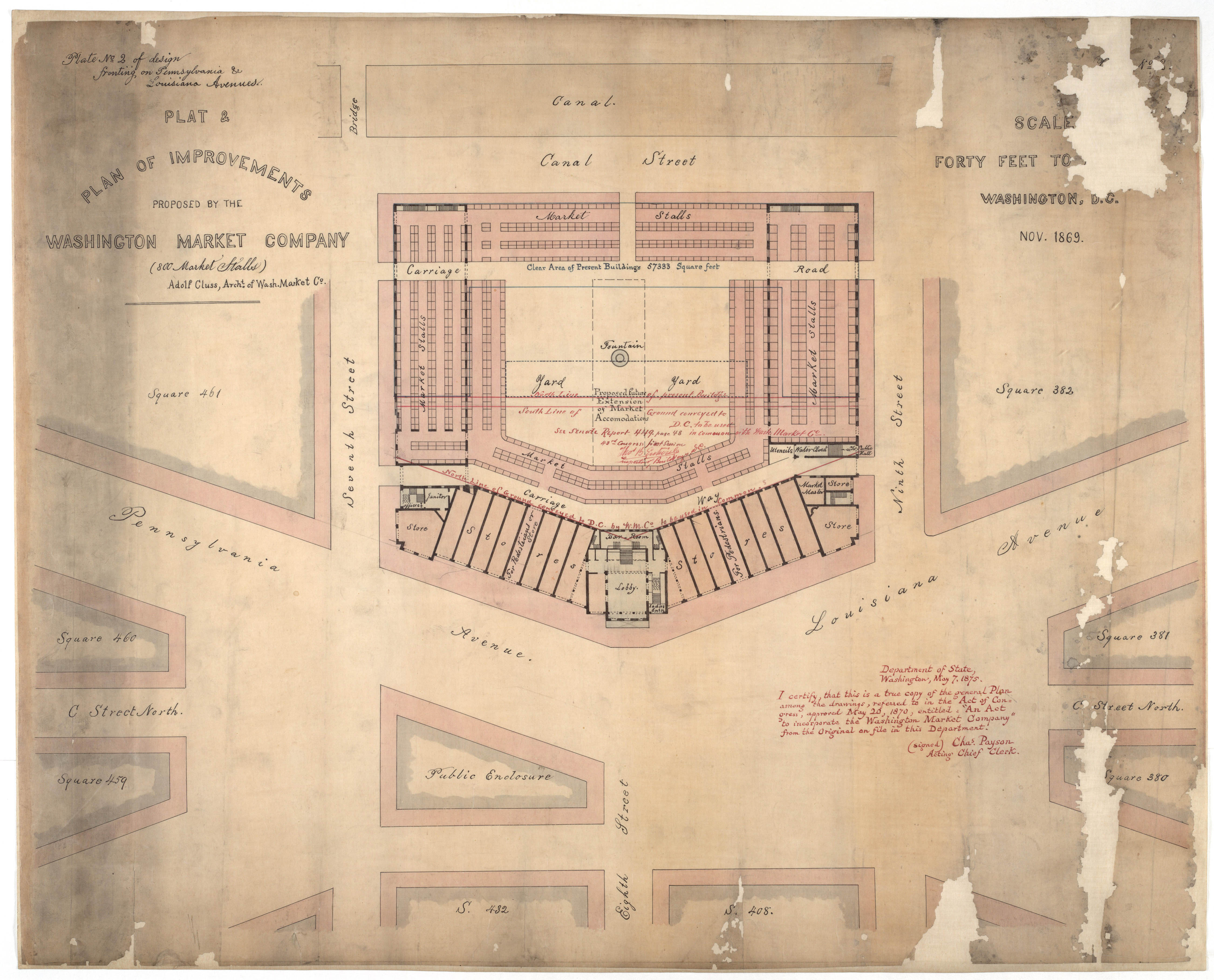 """""""Plan on the Center Market and the Washington Market Company"""", 1869. (Records of the U.S. Senate, National Archives)"""