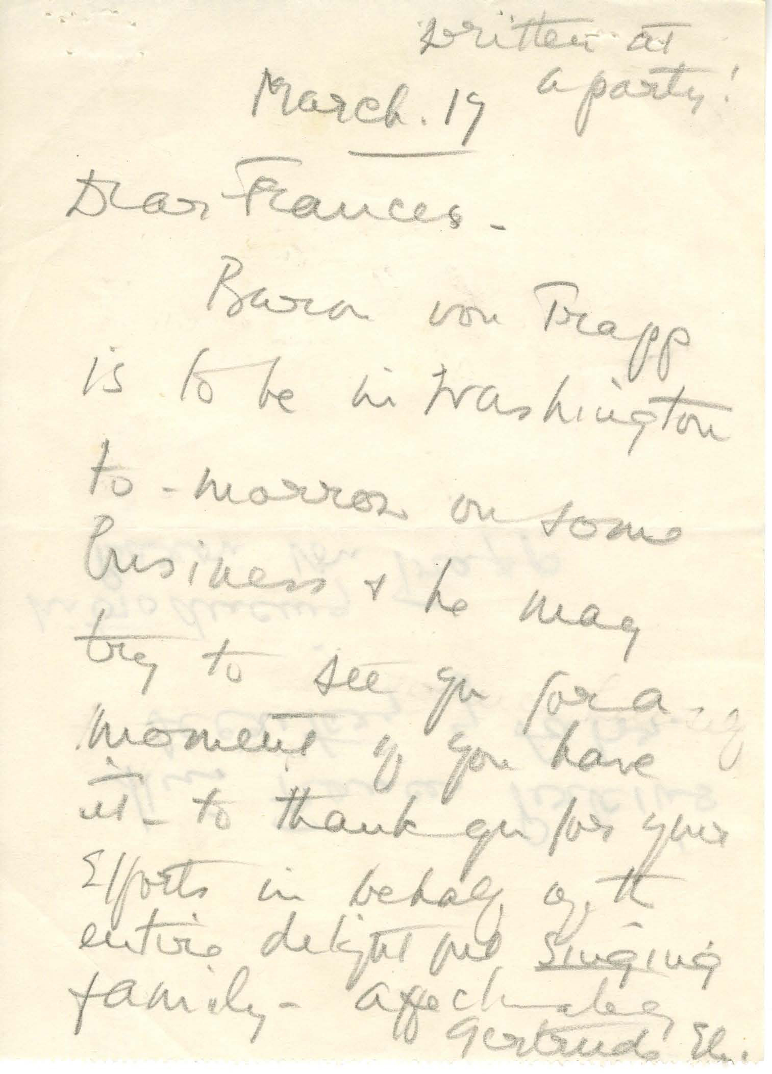 Gertrude Ely to Frances Perkins, March 19, 1940. (National Archives Identifier 6600095)