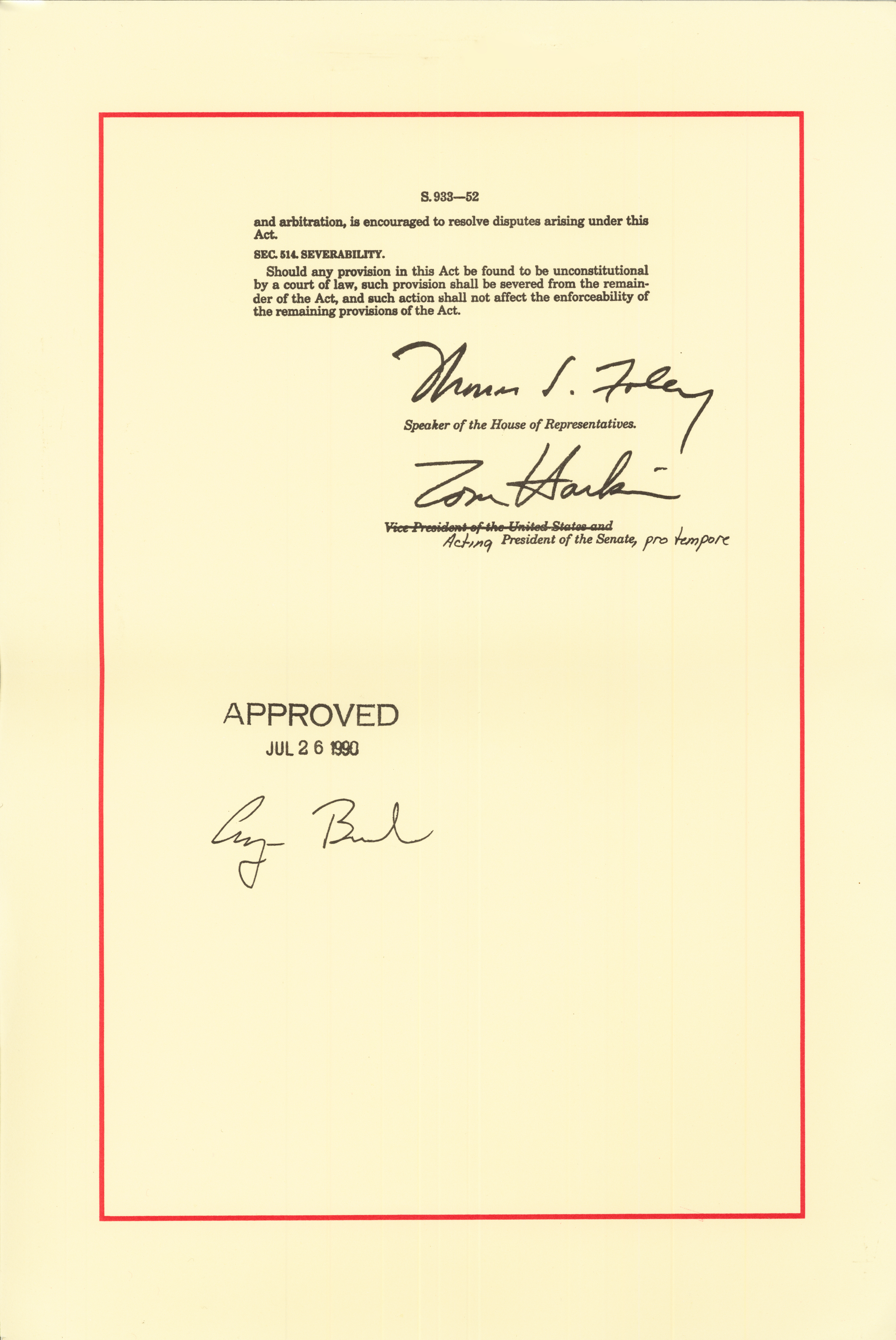 Americans with Disabilities Act of 1990, July 26, 1990, signature page. (National Archives Identifier 6037488)