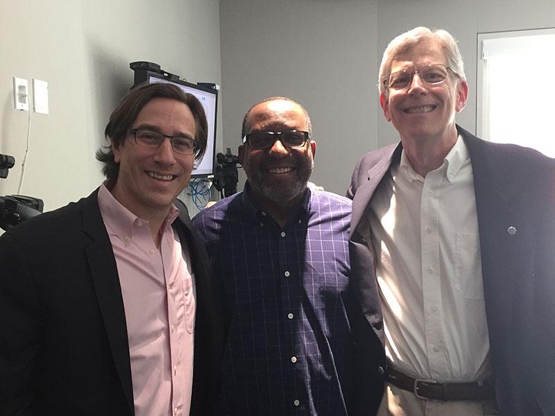 L-R Derek Brown, celebrity mixologist, Kojo Nnamdi, and Bruce Bustard.