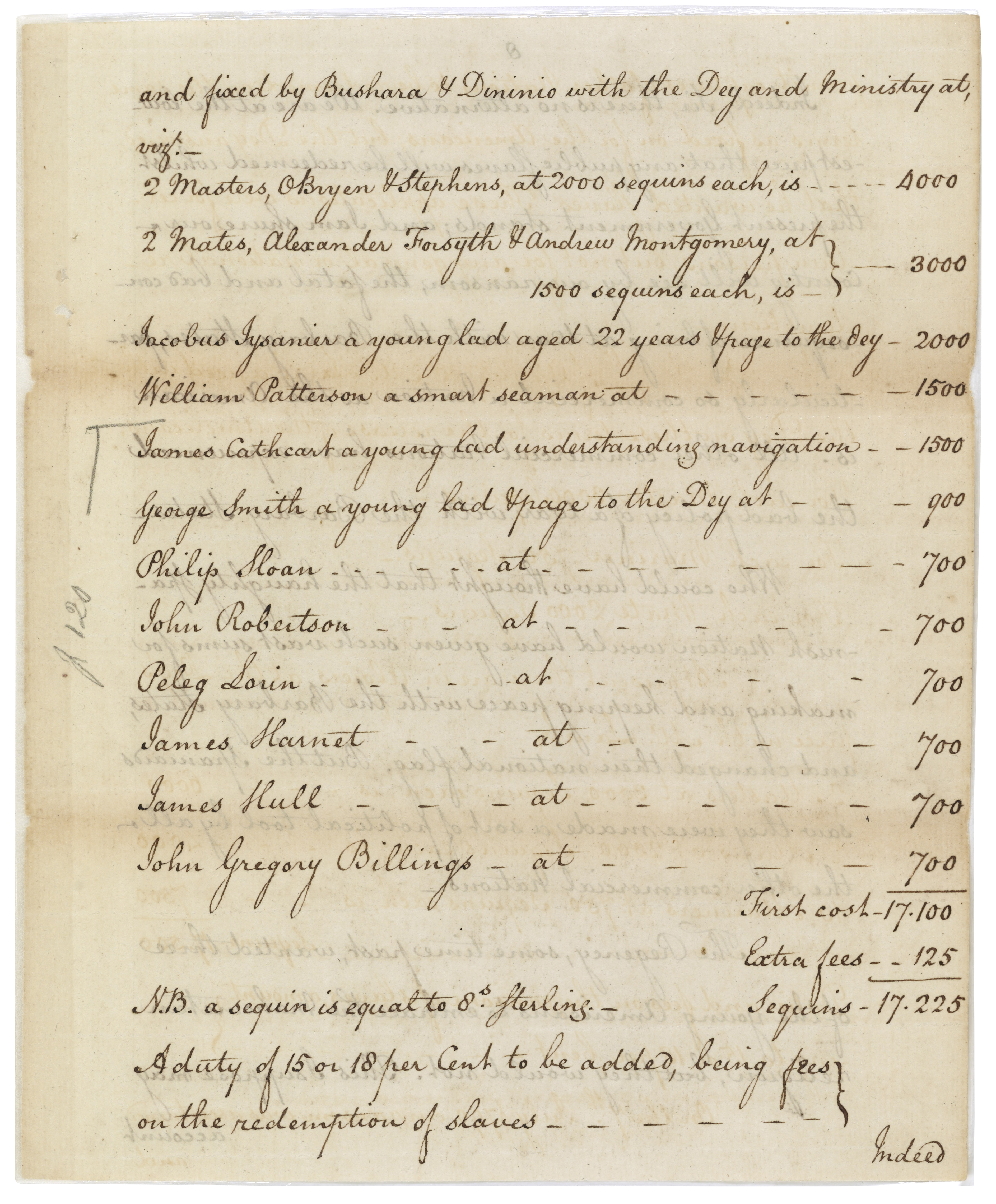 Richard O'Bryen's letter to Thomas Jefferson, page showing ransom rates, July 12, 1790. (Records of the U.S. Senate, National Archives)