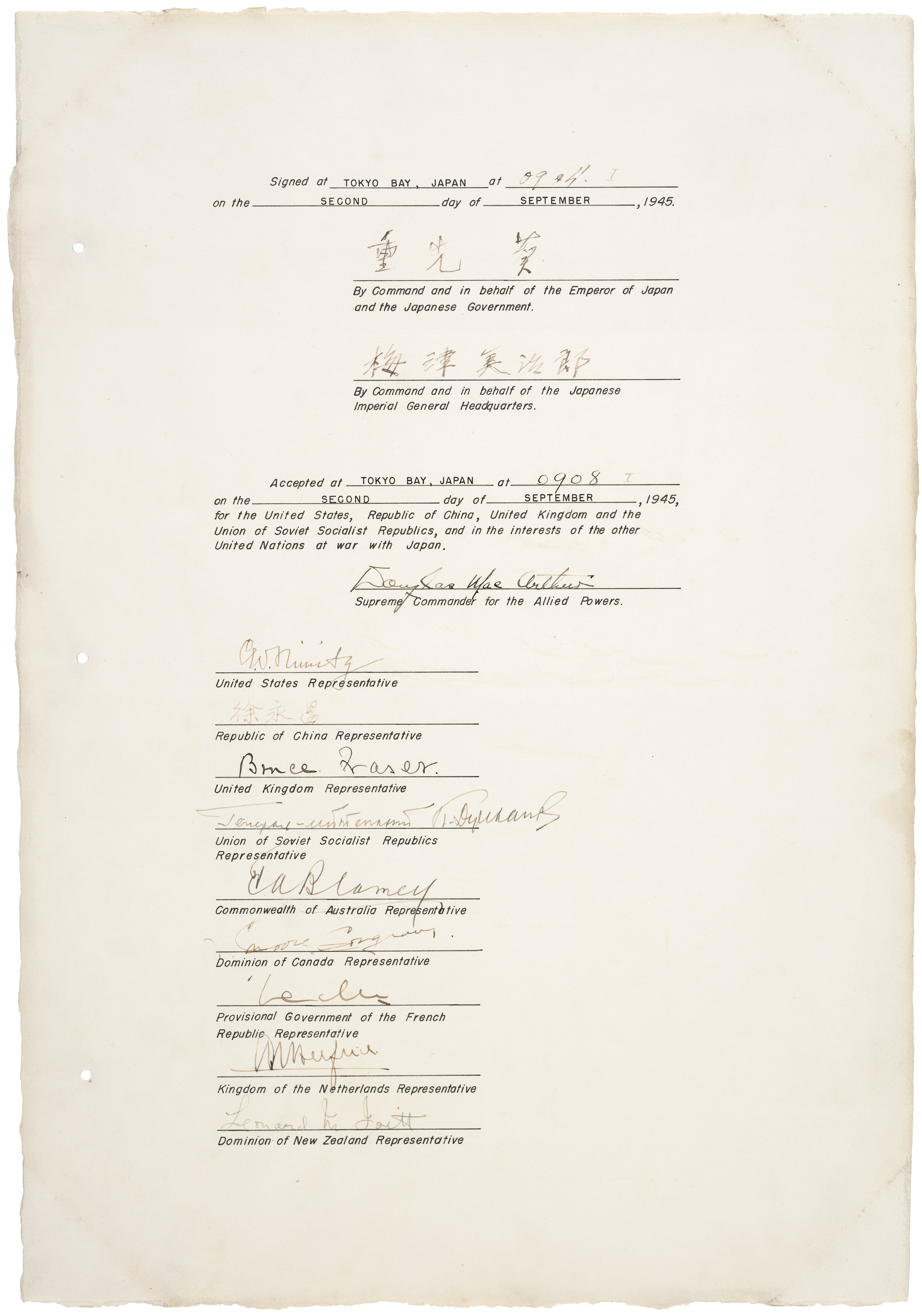 Instrument of Surrender, September 2, 1945, signature page. (Records of the U.S. Joint Chiefs of Staff, National Archives)