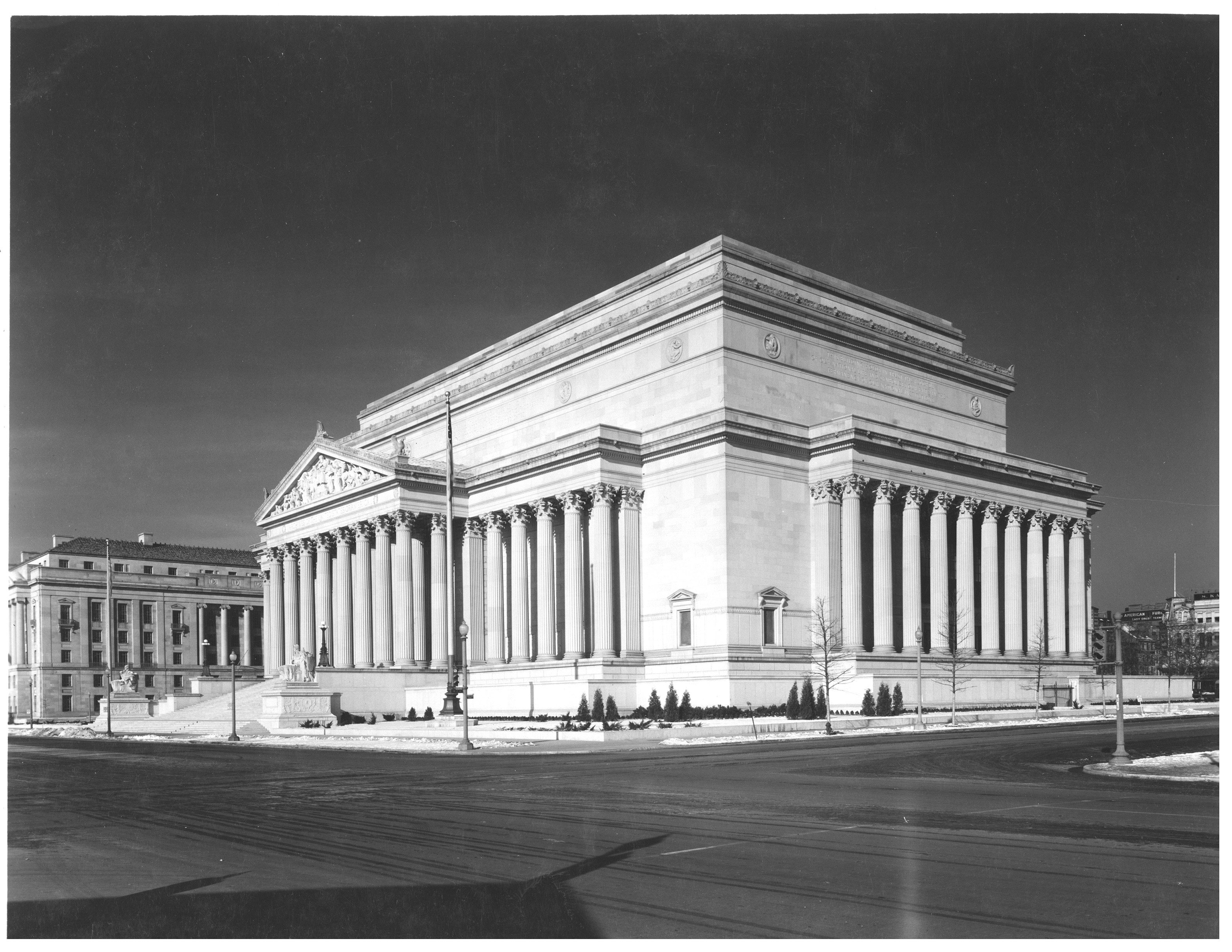 Photograph of the National Archives Building, Constitution Avenue and 7th Street, 12/25/1935. (National Archives Identifier 7820512)