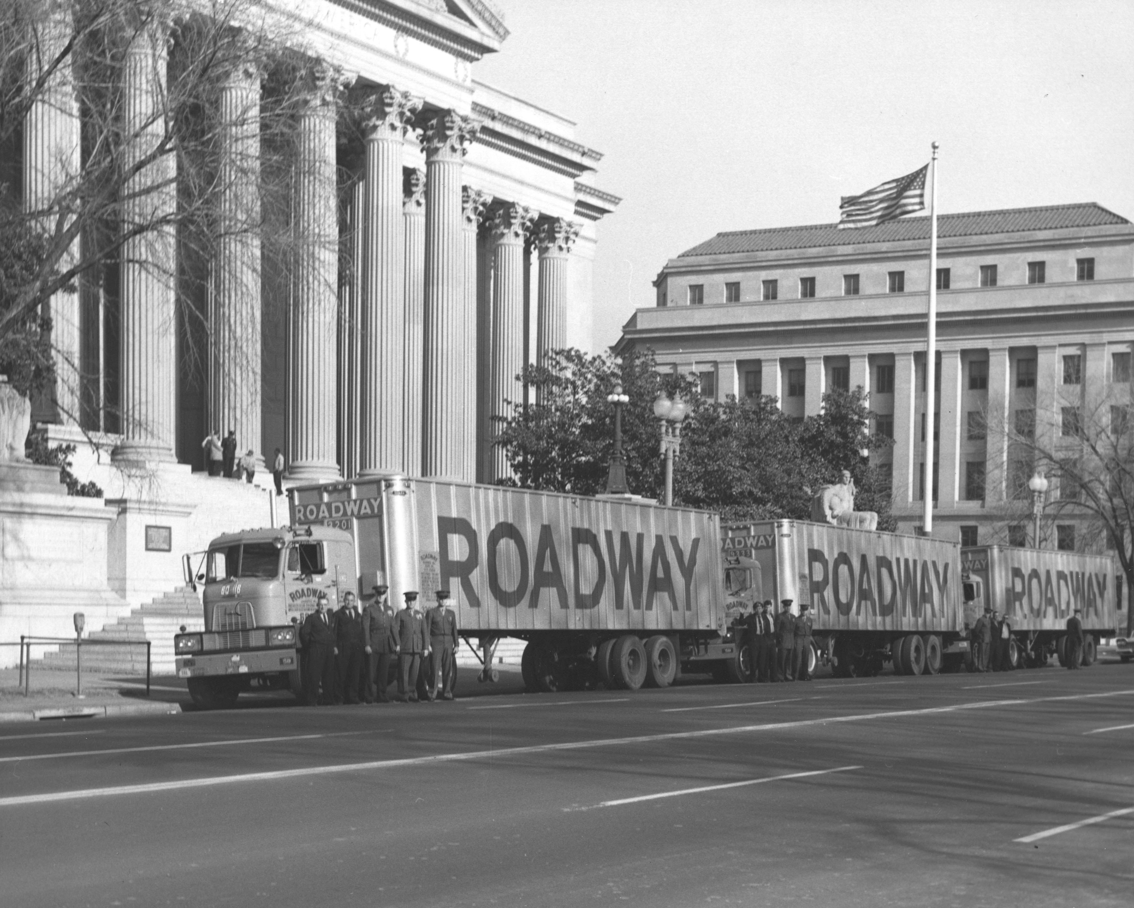 In 1961, three forty foot trailer trucks left the National Archives in Washington, DC, headed for Abilene, Kansas, containing both the official and personal papers of President Dwight D. Eisenhower, 1/13/1961. (National Archives Identifier 12170067)