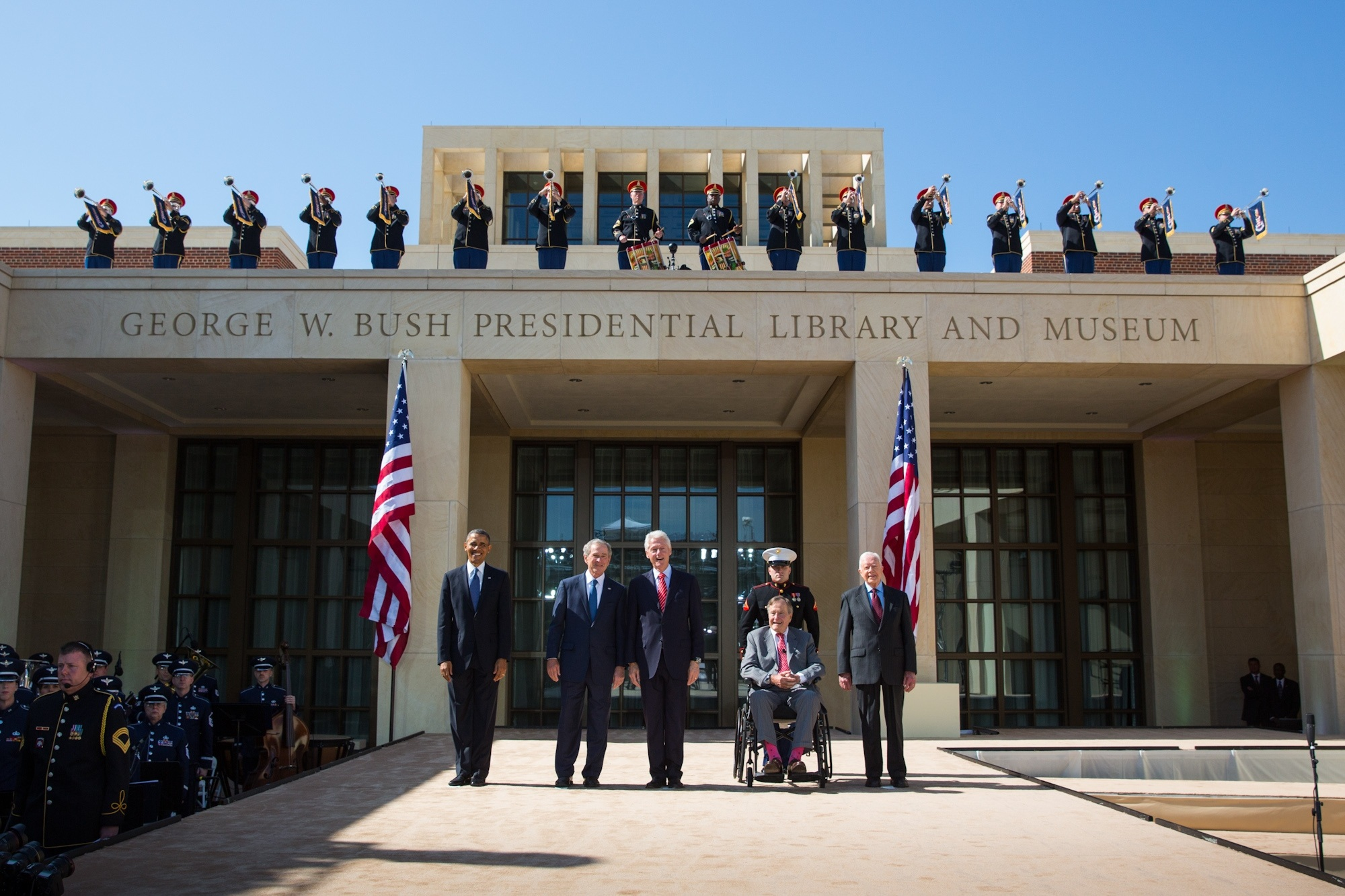 President Barack Obama joins former Presidents George W. Bush, Bill Clinton, George H.W. Bush and Jimmy Carter on stage during the dedication of the George W. Bush Presidential Library and Museum in Dallas, TX, April 25, 2013, . (Photo by Paul Morse, courtesy of the George W. Bush Presidential Library, National Archives)