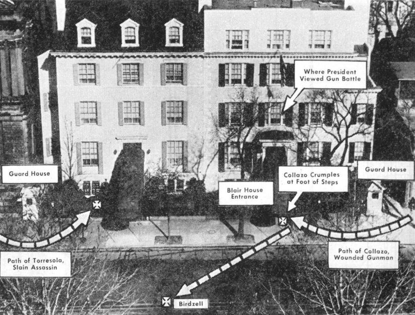 """Diagram of assassination attempt on President Truman at Blair House,"" November 2, 1950. (International News Photo, Harry S. Truman Library & Museum, National Archives)"