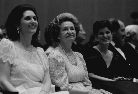 Lynda Johnson Robb, Lady Bird Johnson and Luci Baines Johnson attend the 25th Anniversary Celebration of the Inauguration of Lyndon B. Johnson at the LBJ Library, May 4, 1990. (LBJ Presidential Library, National Archives)