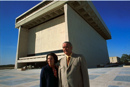President Lyndon B. Johnson and Lady Bird Johnson at the LBJ Library, March 15, 1971. ((LBJ Presidential Library, National Archives)