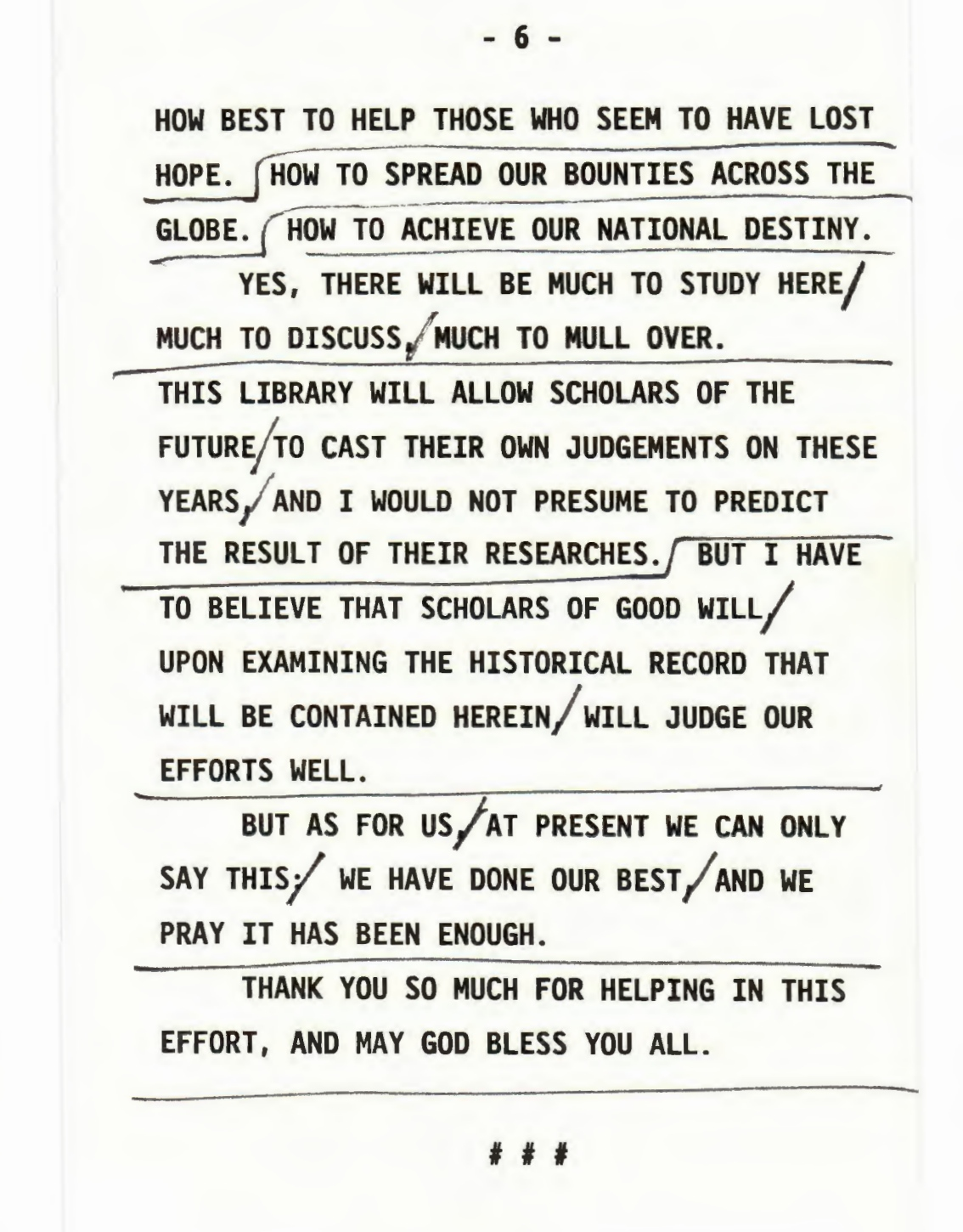Last Page of President Reagan's Groundbreaking Ceremony Speech for the Ronald Reagan Presidential Library, November 21, 1988. (Ronald Reagan Presidential Library and Museum, National Archives)
