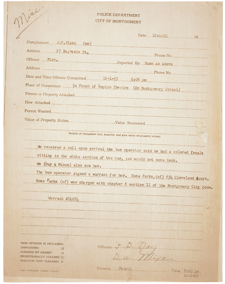 Police report from Rosa Parks's arrest, December 1, 1955. (National Archives Identifier 596074)