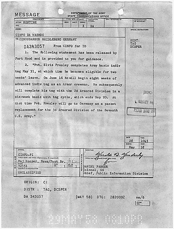 U.S. Army, Public Information Division releasing information about Private Elvis Presley's basic and advanced training, with approximate date of assignment to 3rd Armored Division in Germany, May 28, 1958. (National Archives Identifier 299789)