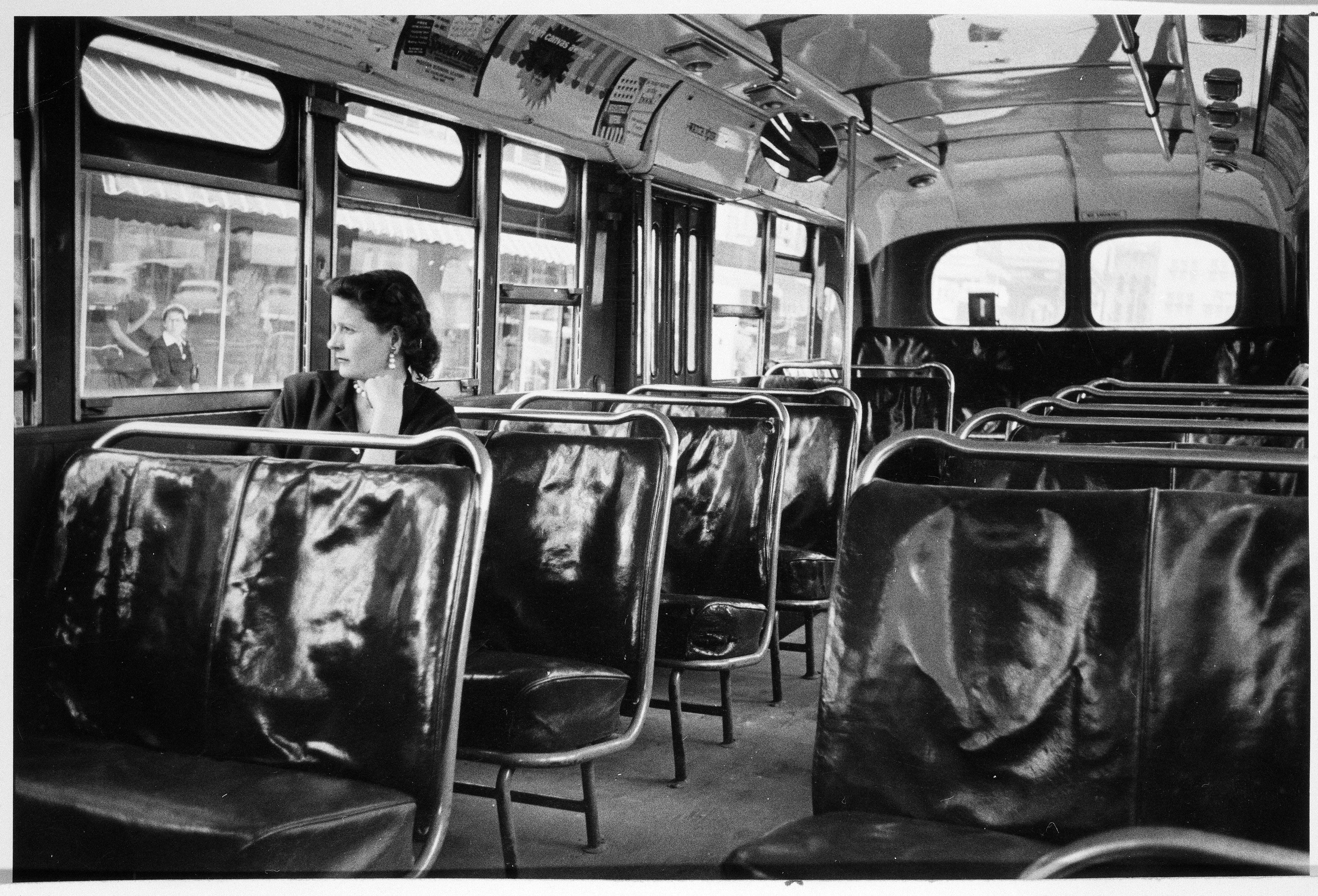 Photograph of an empty bus during the Montgomery Bus Boycott.  (National Archives Identifier 7452358)