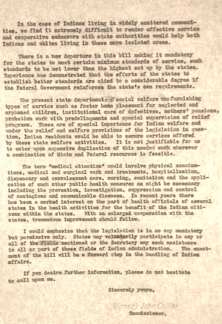 Memo from John Collier to Senator Thomas O'Malley Regarding Justifications for Senate Bill 2571 (what would become the Johnson-O'Malley Act), February 26, 1934. (National Archives Identifier 559808)