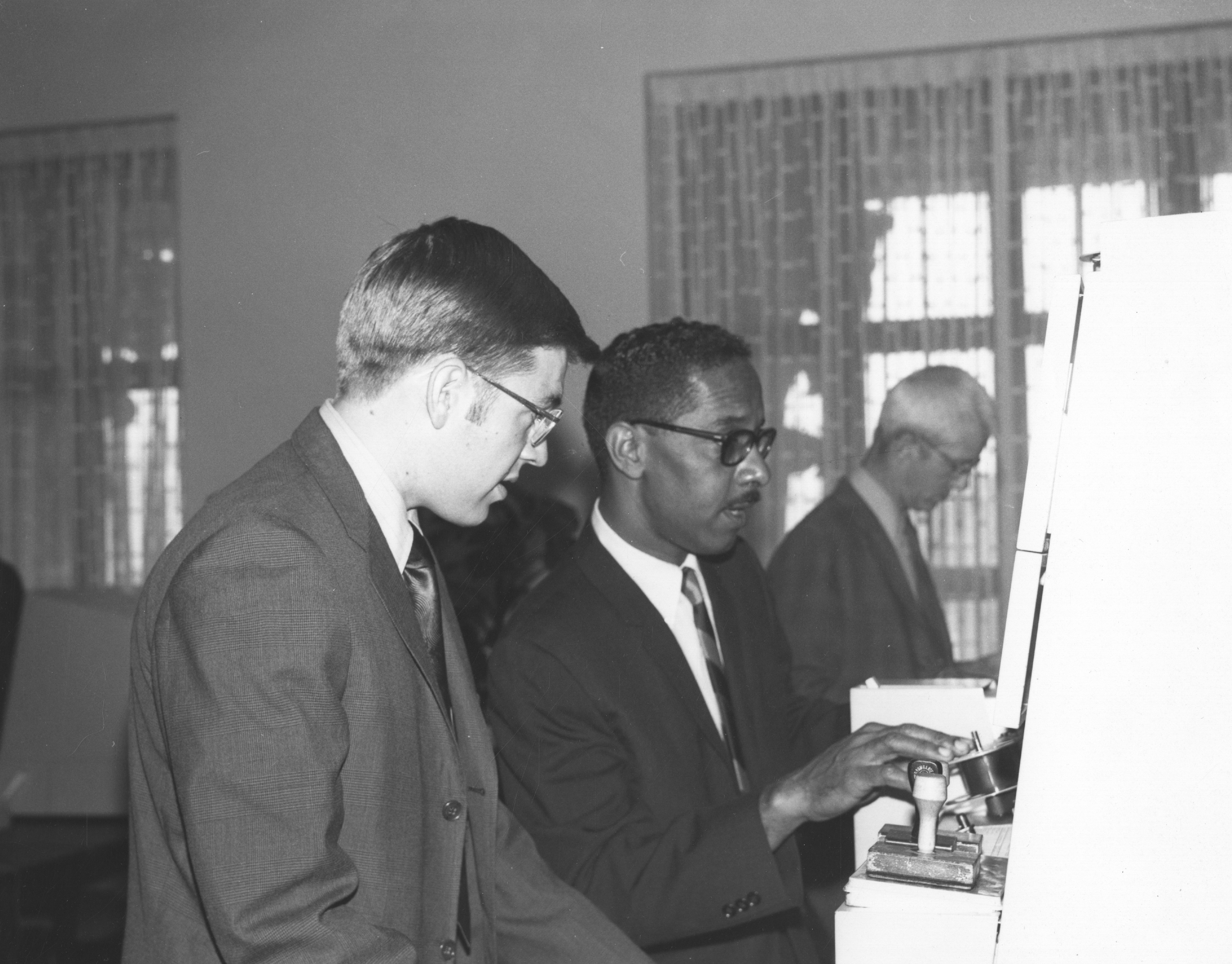 The opening of new Microfilm Reading Room at the National Archives, June 24, 1971. (National Archives Identifier23856415)