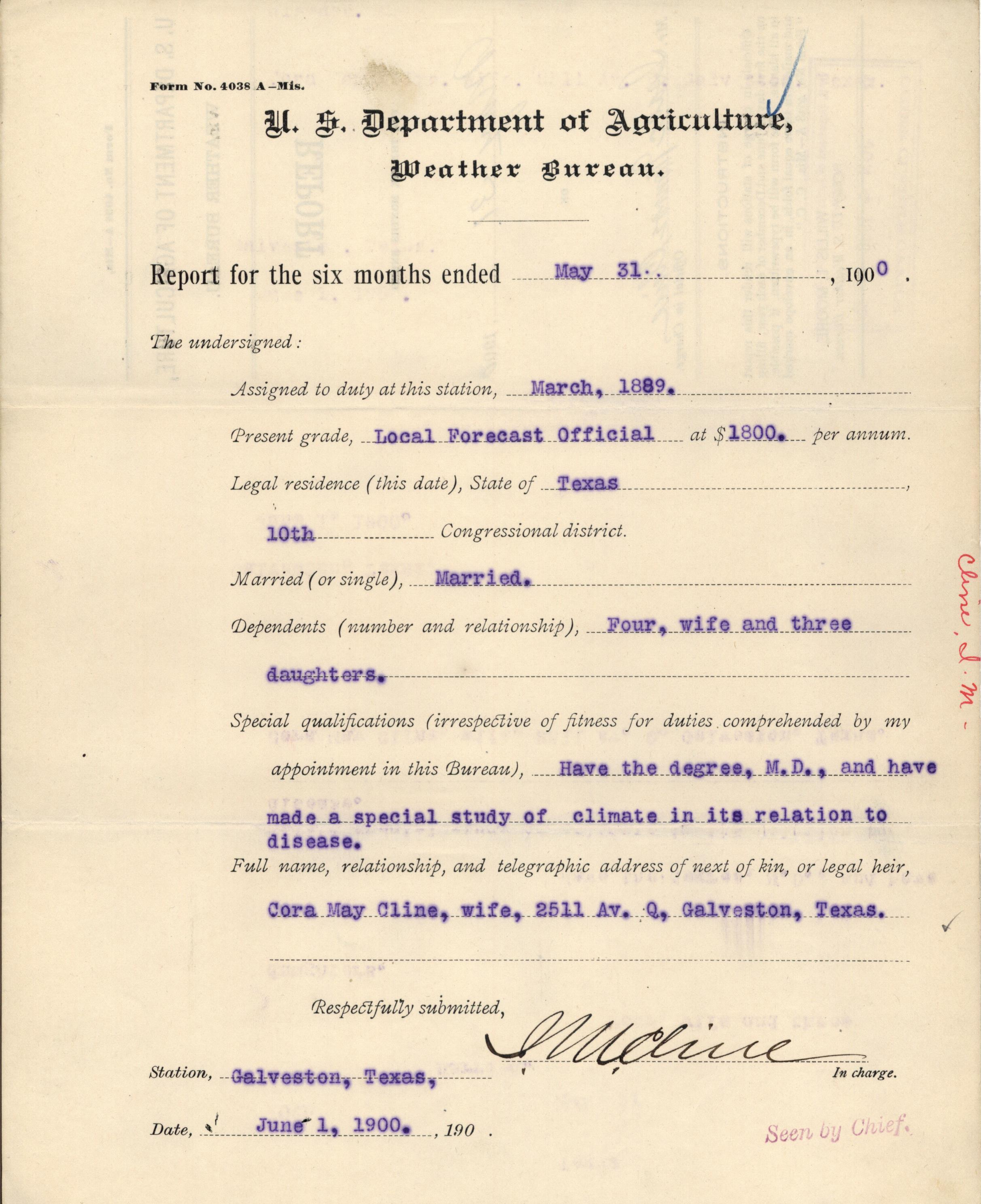 Weather Bureau Report, May 31, 1900. (National Archives at St. Louis)