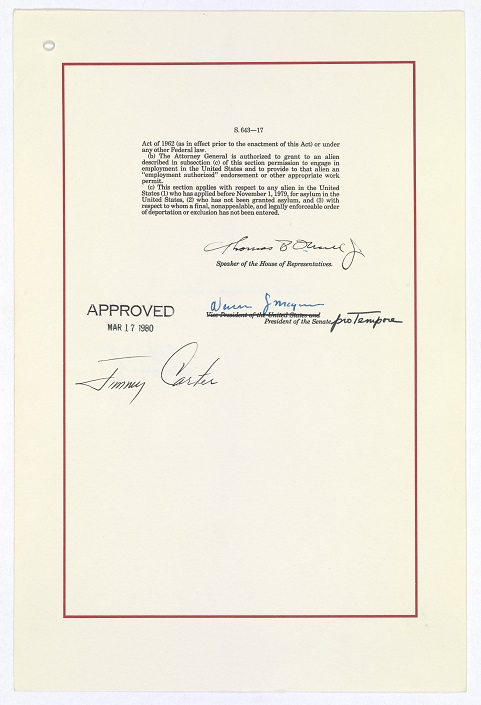 """Signature page of """"A bill to amend the Immigration and Nationality Act to revise the procedures for the admission of refugees, to amend the Migration and Refugee Assistance Act of 1962 to establish a more uniform basis for the provision of assistance to refugees, and for other purposes,"""" (Public Law 96-212—The Refugee Act of 1980), approved March 17, 1980 National Archives, General Records of the U.S. Government"""